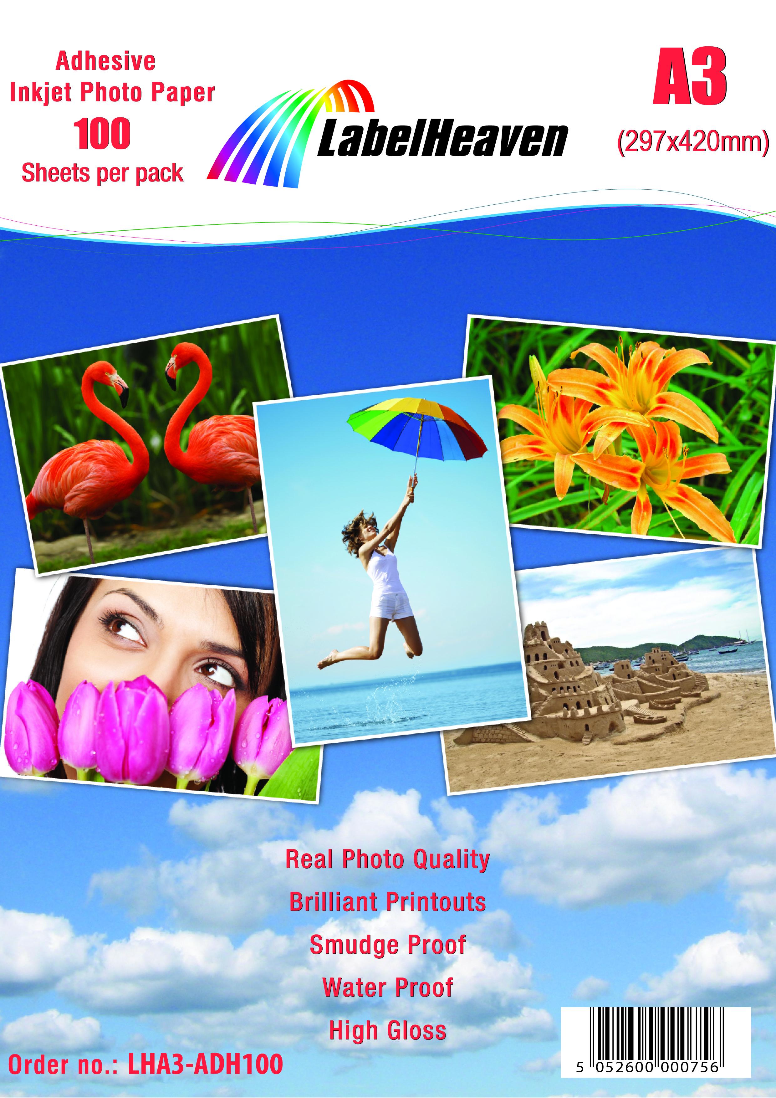 Format und Menge nach Wahl von Label Heaven Fotopapier selbstklebend glänzend