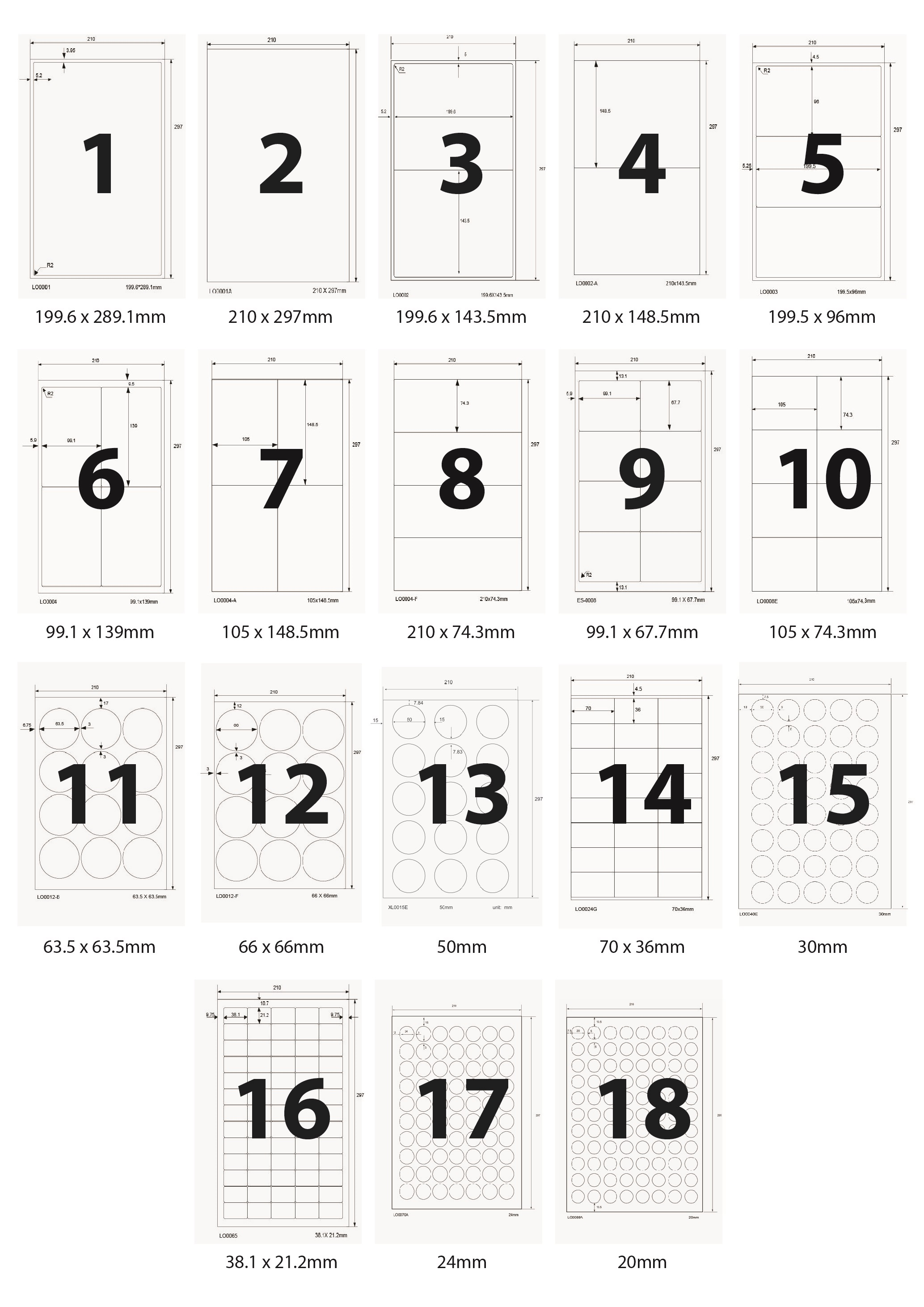 Universal Etiketten selbstklebend Format und Menge nach Wahl LH-A4V1-LHA4V88