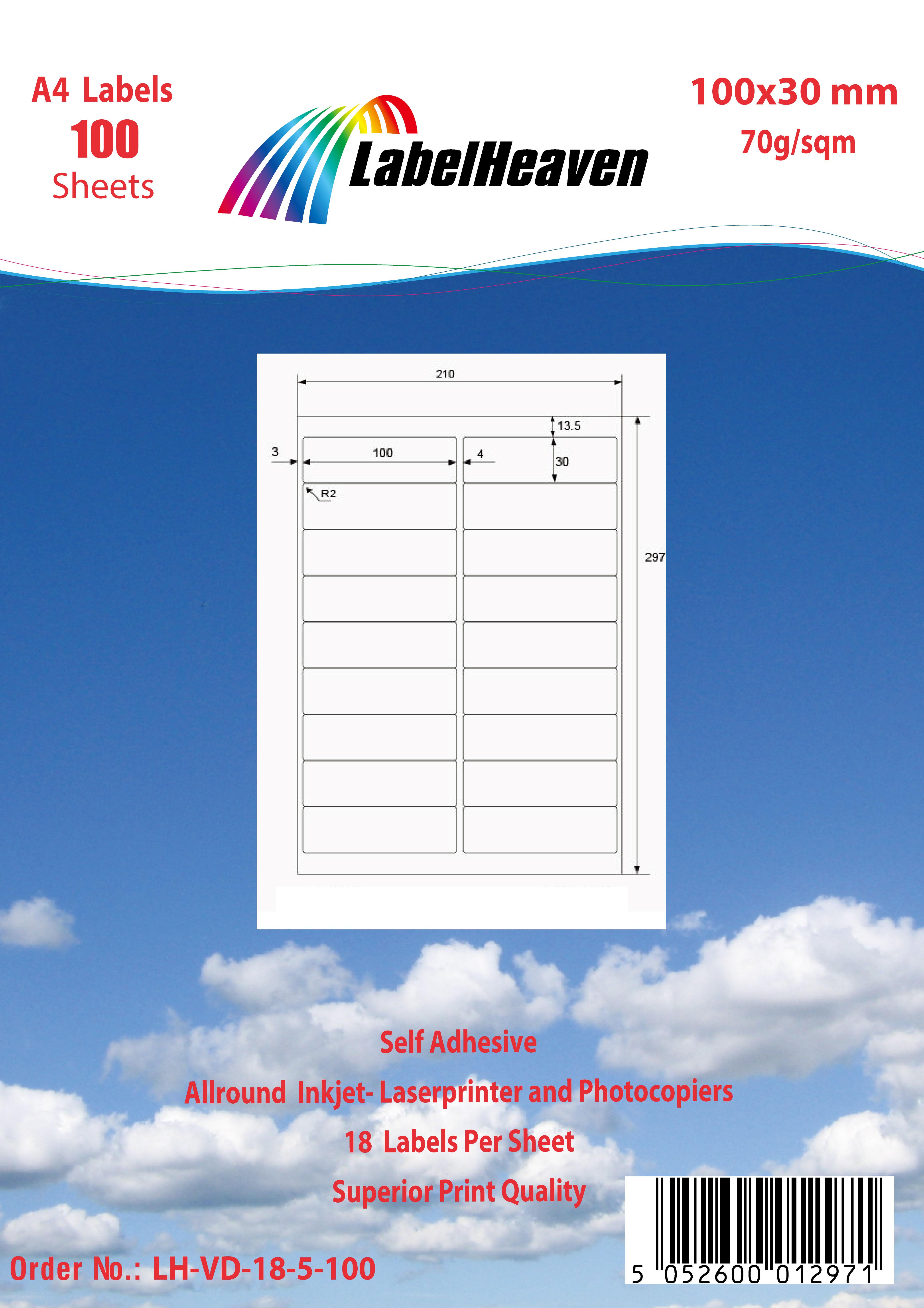 Universal Etiketten selbstklebend Format und Menge nach Wahl von LH LHVD18-LHVD