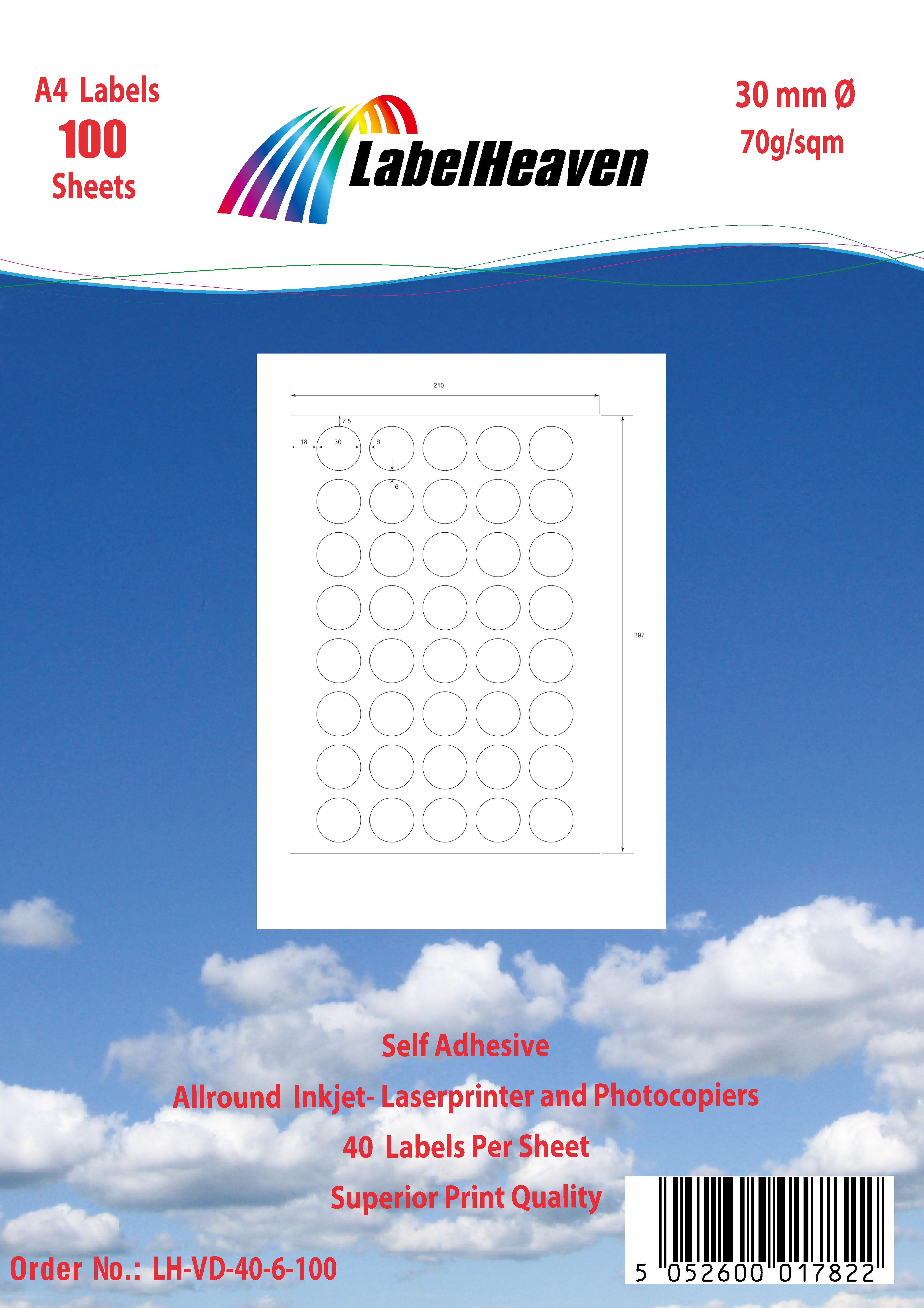 Universal Etiketten selbstklebend Format und Menge nach Wahl von LH LHVD40-VD99