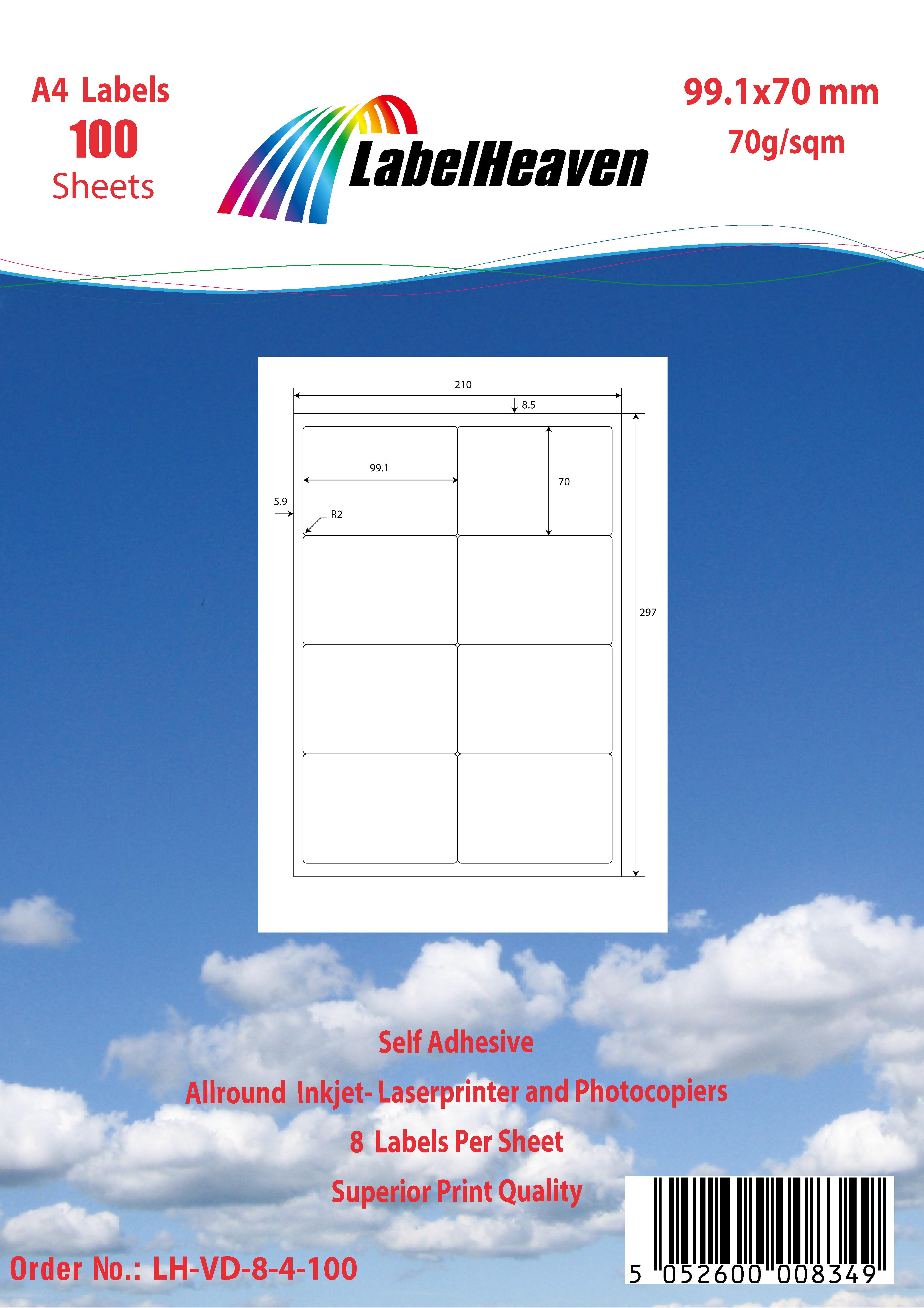 Universal Etiketten selbstklebend Format und Menge nach Wahl von LH LHVD8-LHVD12