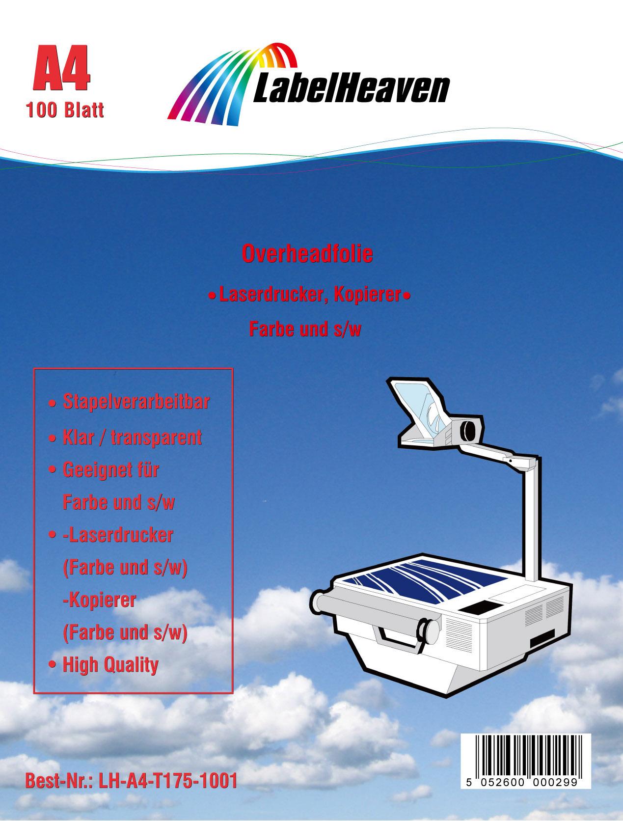 100  OHP Folien Kopierfolie Kopierfolien Overheadfolie für Farblaserdrucker