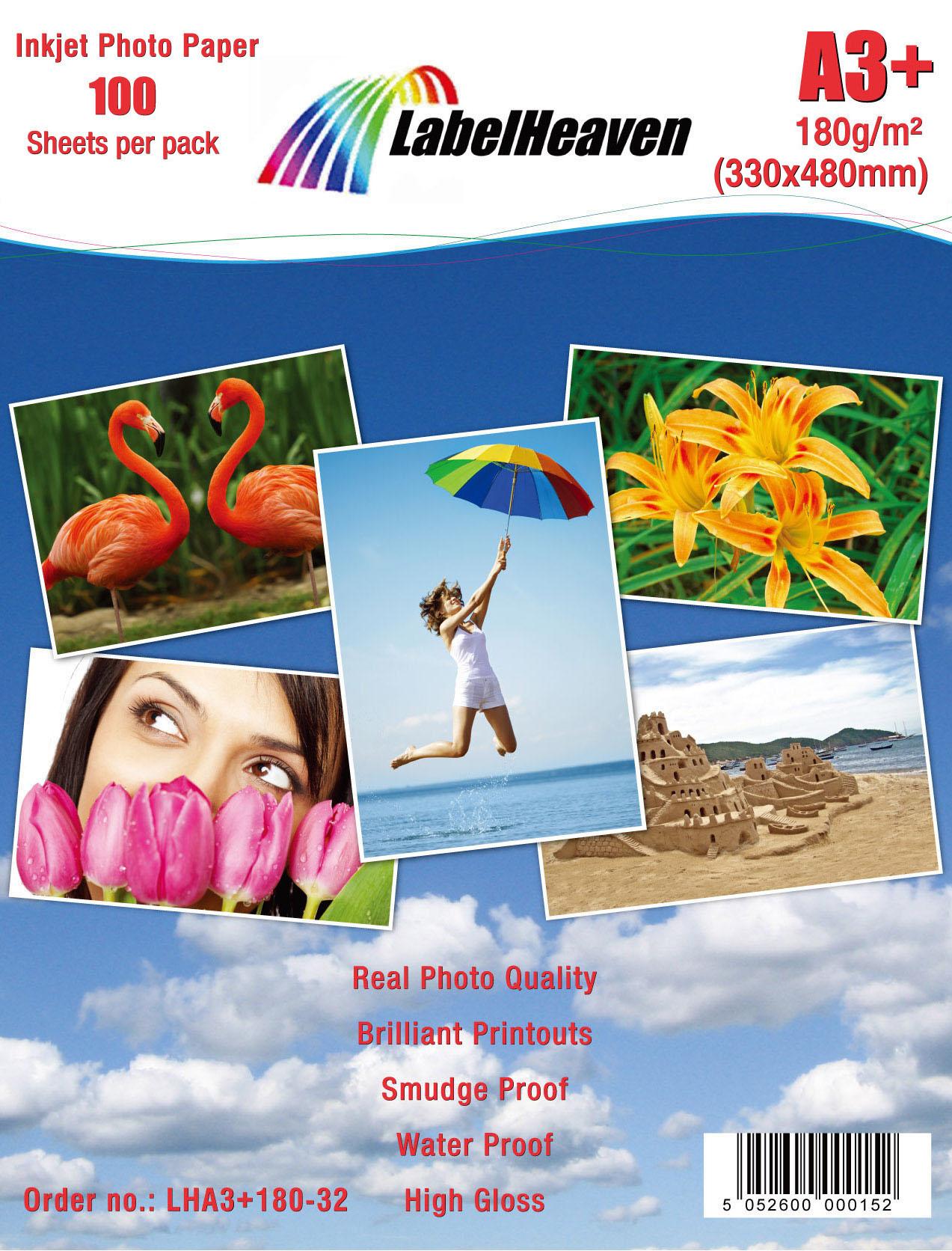 100 Blatt DIN A3+ 180g/m² Fotopapier HGlossy+wasserfest von LabelHeaven