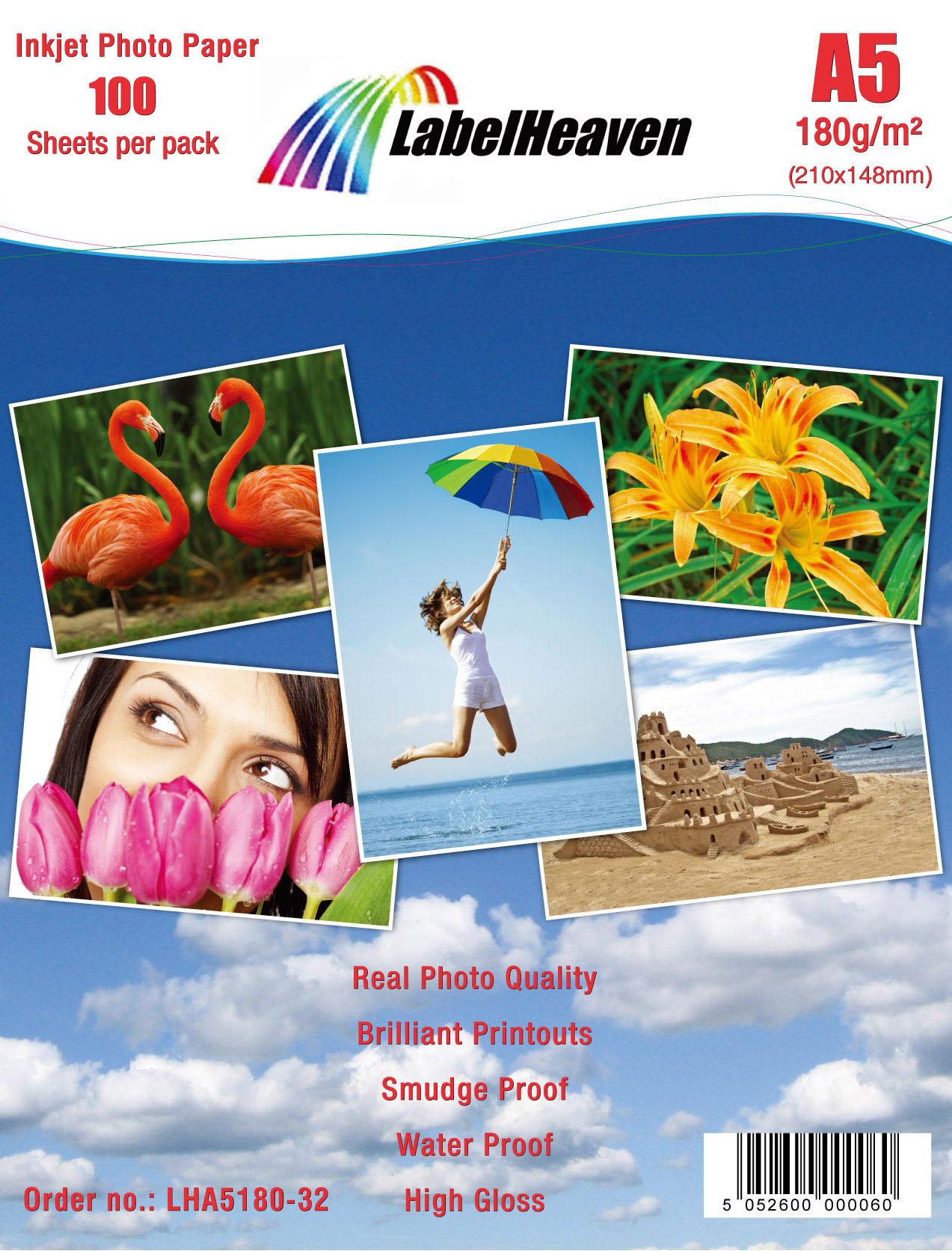 100 Blatt DIN A5 180g/m² Fotopapier HGlossy+wasserfest von LabelHeaven