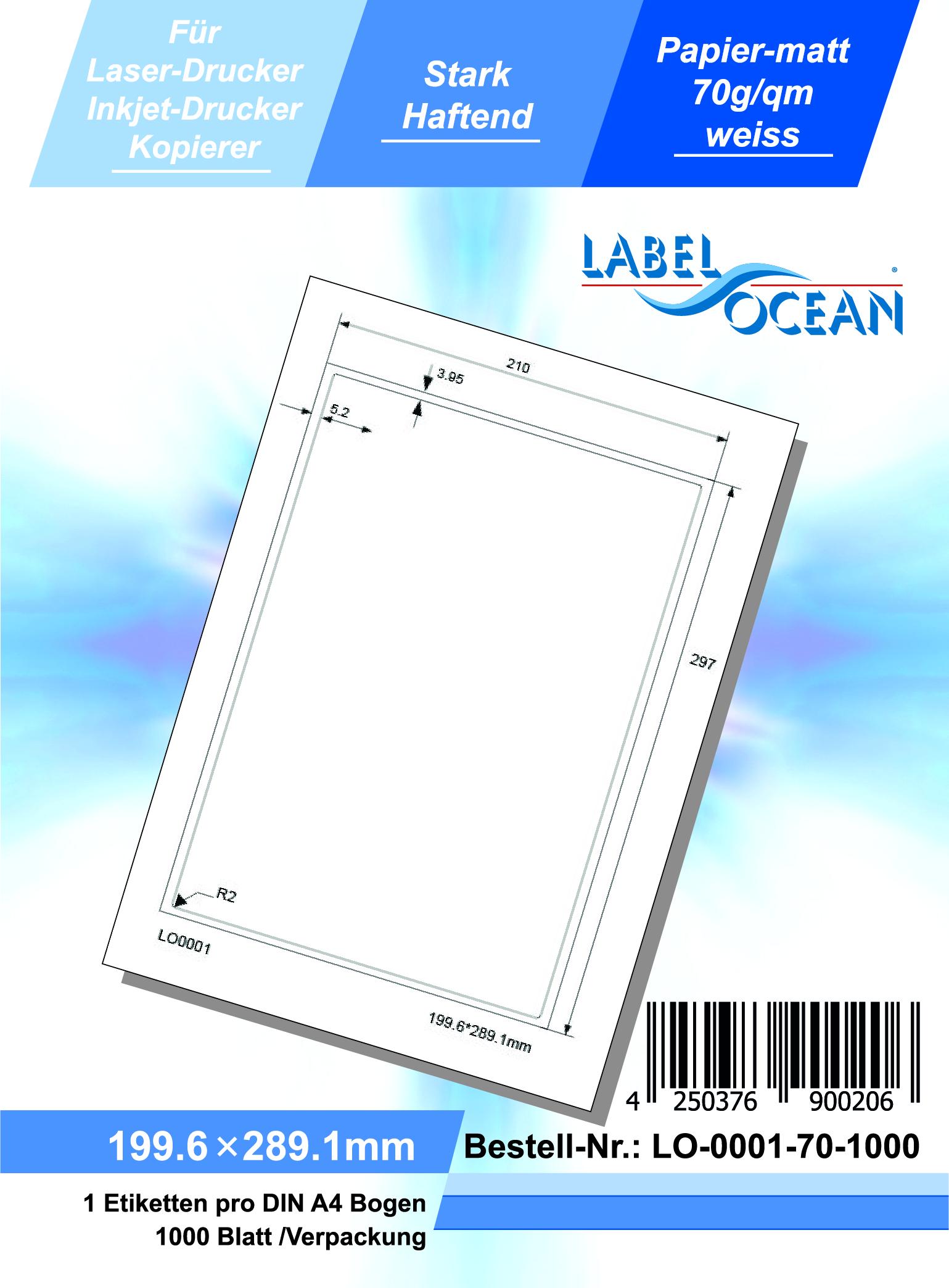 1000 Blatt Laser Inkjet Kopierer Klebeetiketten DIN A4 weiß 199,6x289,1mm