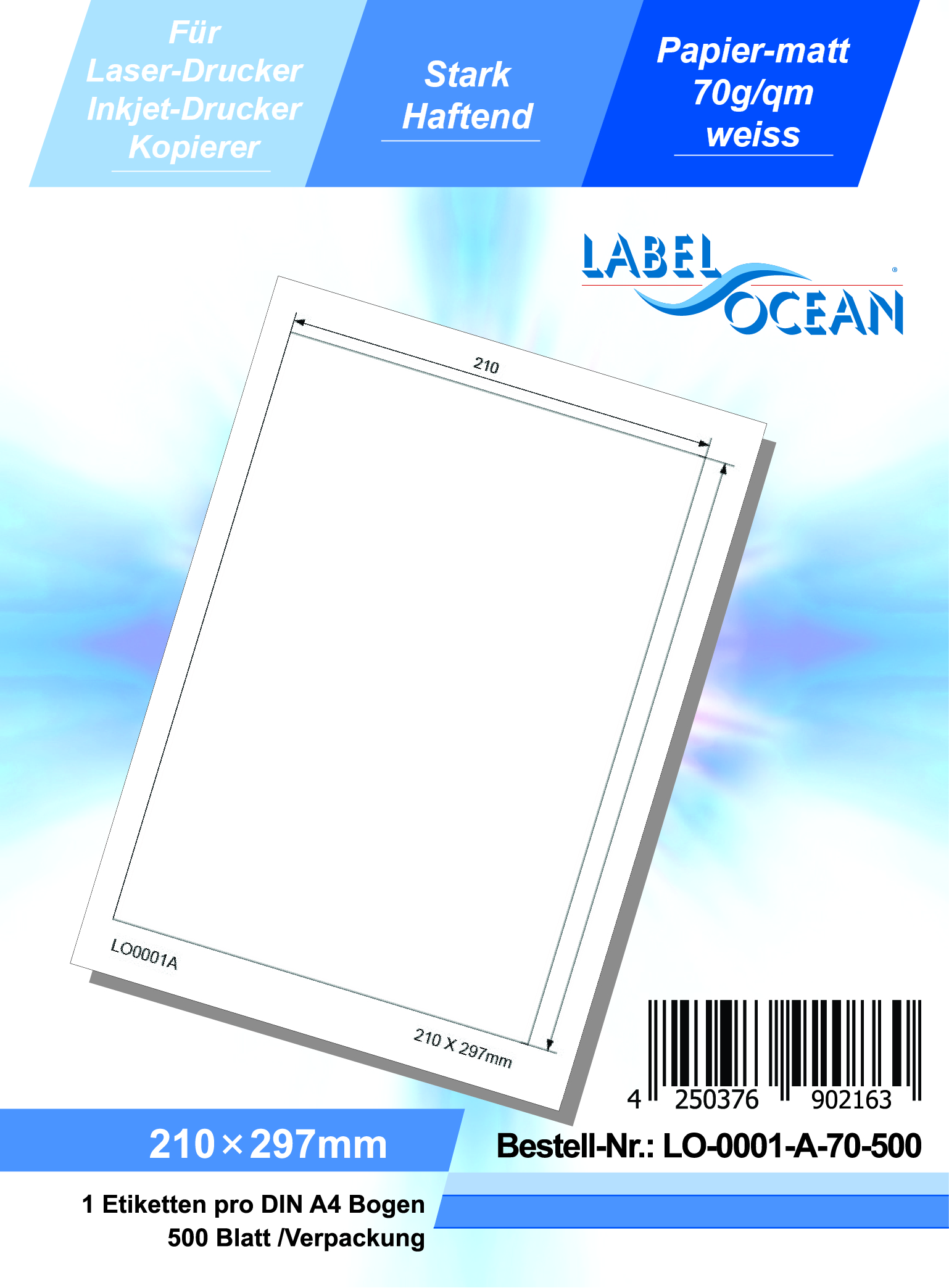 Klebeetiketten DIN A4 weiß 210x297mm Laser Inkjet Kopierer 500 Blatt