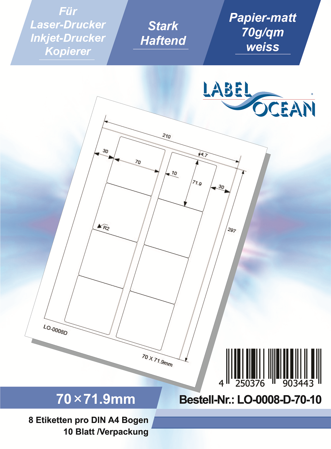 Klebeetiketten DIN A4 weiß 70x71,9mm (Laser Inkjet Kopierer) 10 Blatt