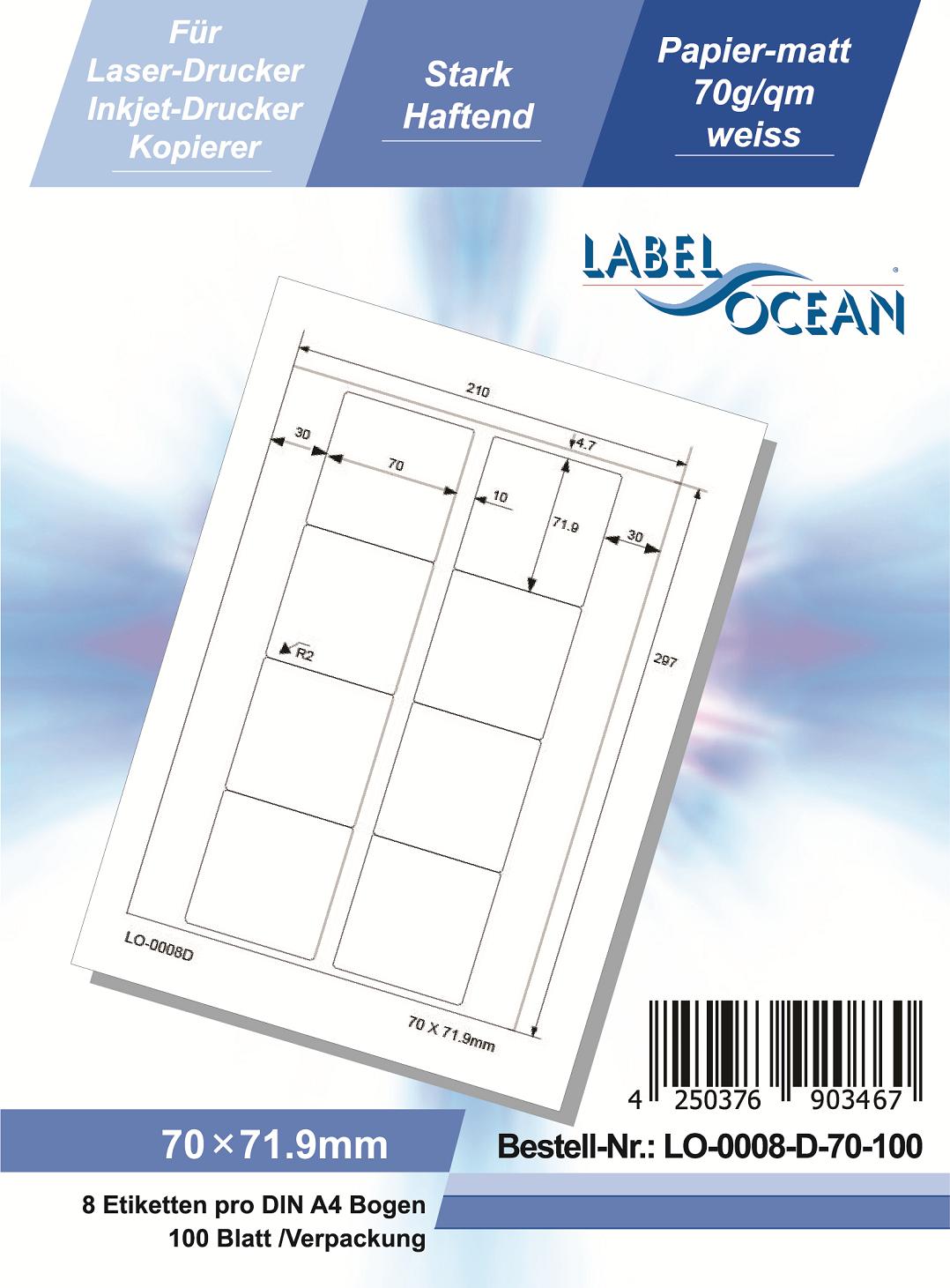 Klebeetiketten DIN A4 weiß 70x71,9mm (Laser Inkjet Kopierer) 100 Blatt