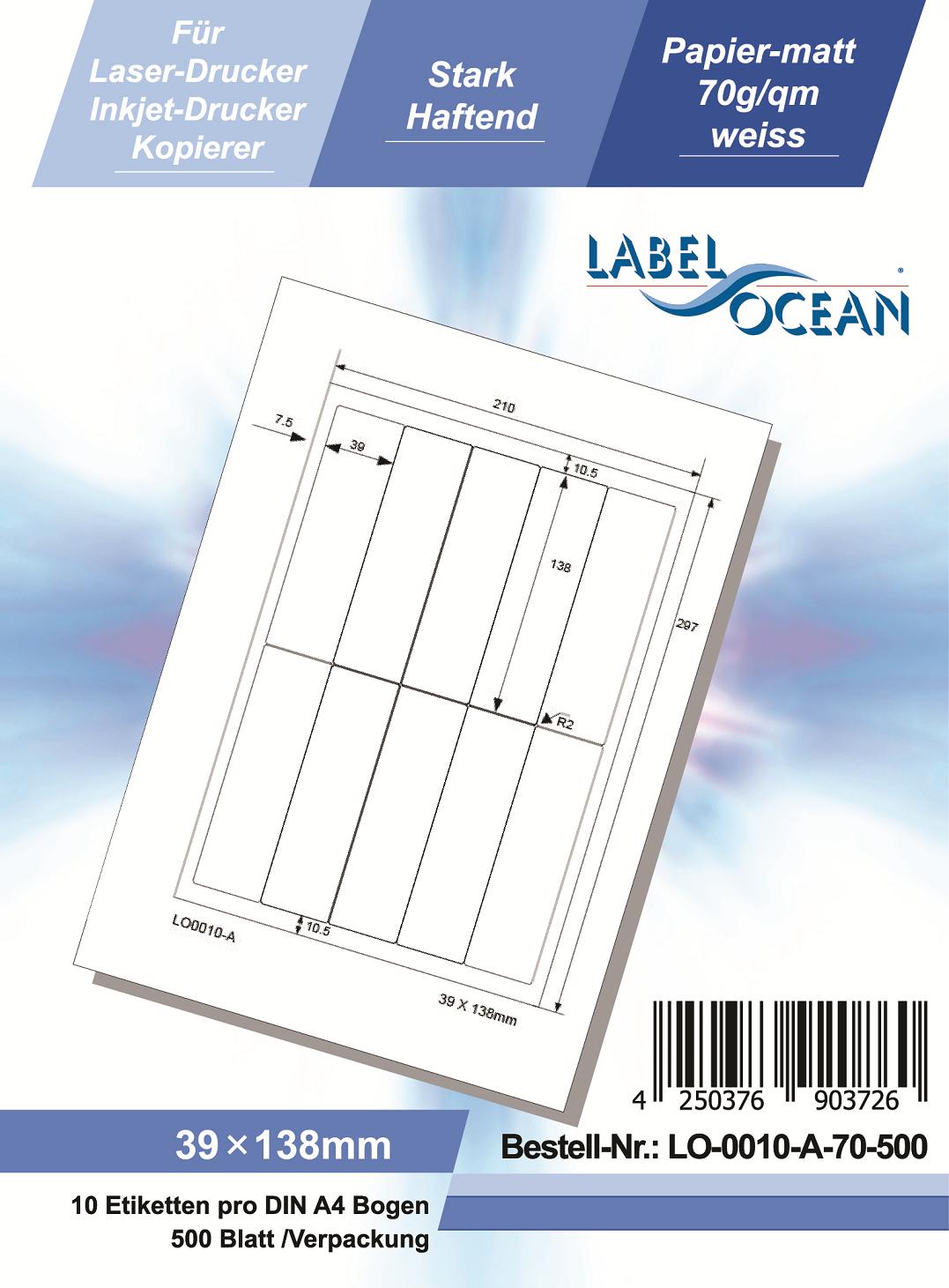 Klebeetiketten DIN A4 weiß 39x138mm (Laser Inkjet Kopierer) 500 Blatt
