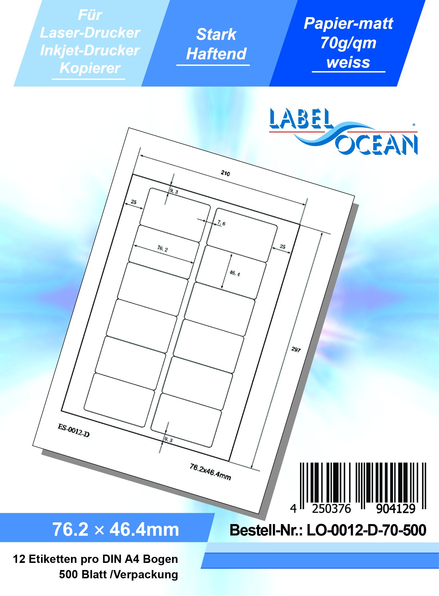 1000 Blatt Laser Inkjet Kopierer Klebeetiketten DIN A4 weiß 63,5x72mm