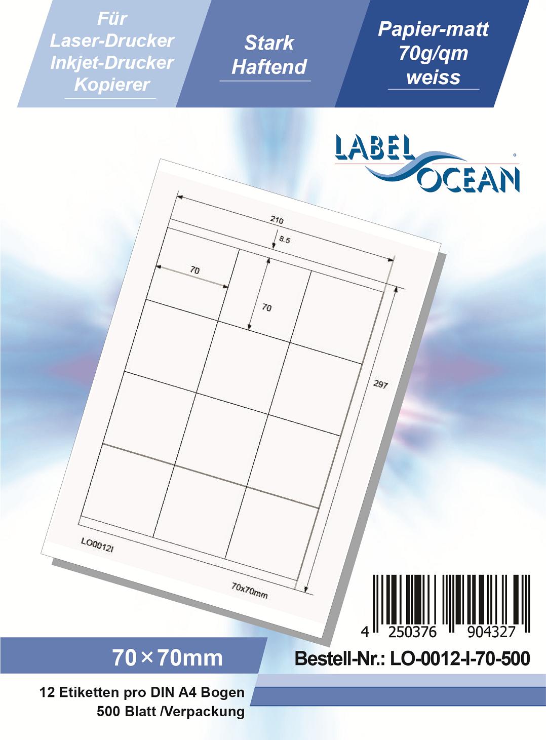 Klebeetiketten DIN A4 weiß 70x70mm (Laser Inkjet Kopierer) 500 Blatt