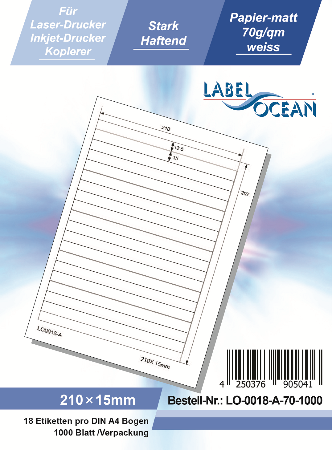 Klebeetiketten DIN A4 weiß 210x15mm (Laser Inkjet Kopierer) 1000 Blatt