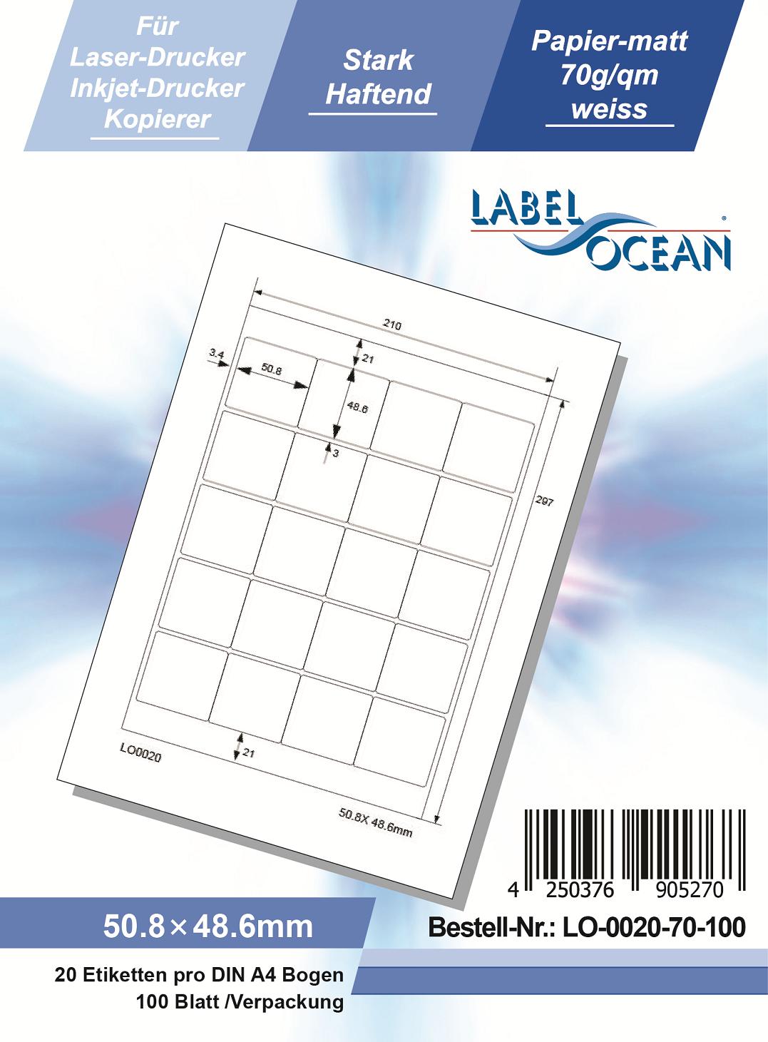 Klebeetiketten DIN A4 weiß 50,8x48,6mm (Laser Inkjet Kopierer) 100 Blatt