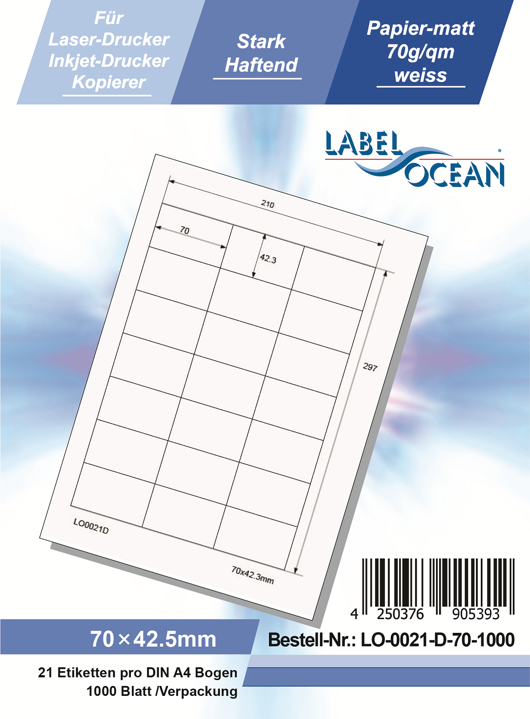 Klebeetiketten DIN A4 weiß 70x42,3mm (Laser Inkjet Kopierer) 1000 Blatt