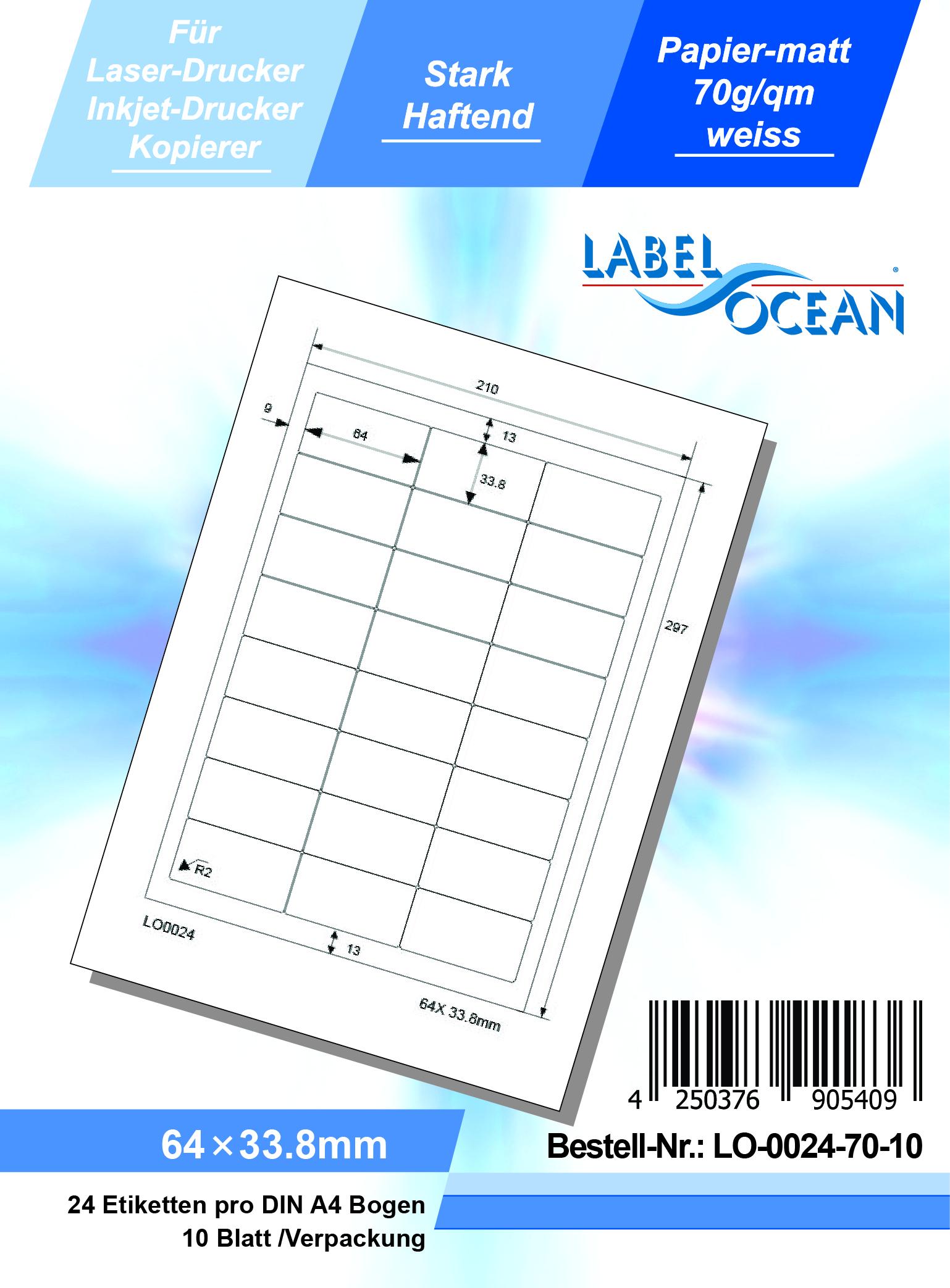 10 Blatt Laser Inkjet Kopierer Klebeetiketten DIN A4 weiß 64x33,8mm