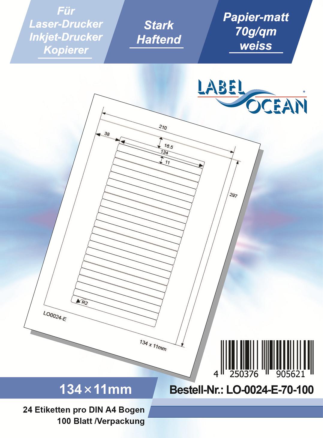 Klebeetiketten DIN A4 weiß 134x11mm (Laser Inkjet Kopierer) 100 Blatt