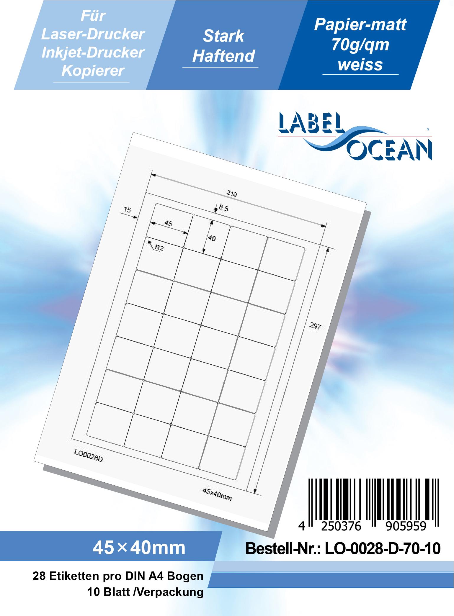 Klebeetiketten DIN A4 weiß 45x40mm (Laser Inkjet Kopierer) 10 Blatt