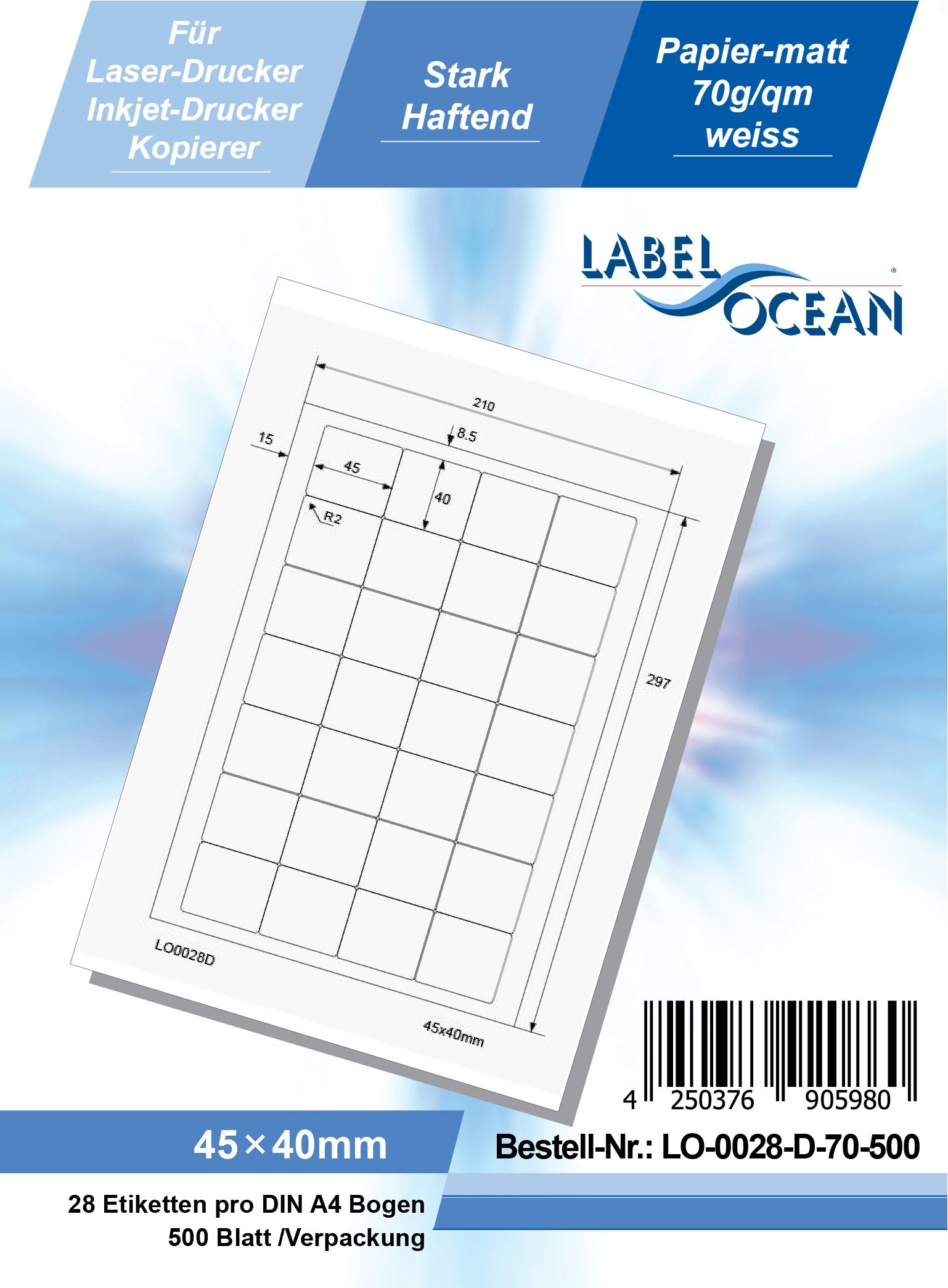 Klebeetiketten DIN A4 weiß 45x40mm (Laser Inkjet Kopierer) 500 Blatt