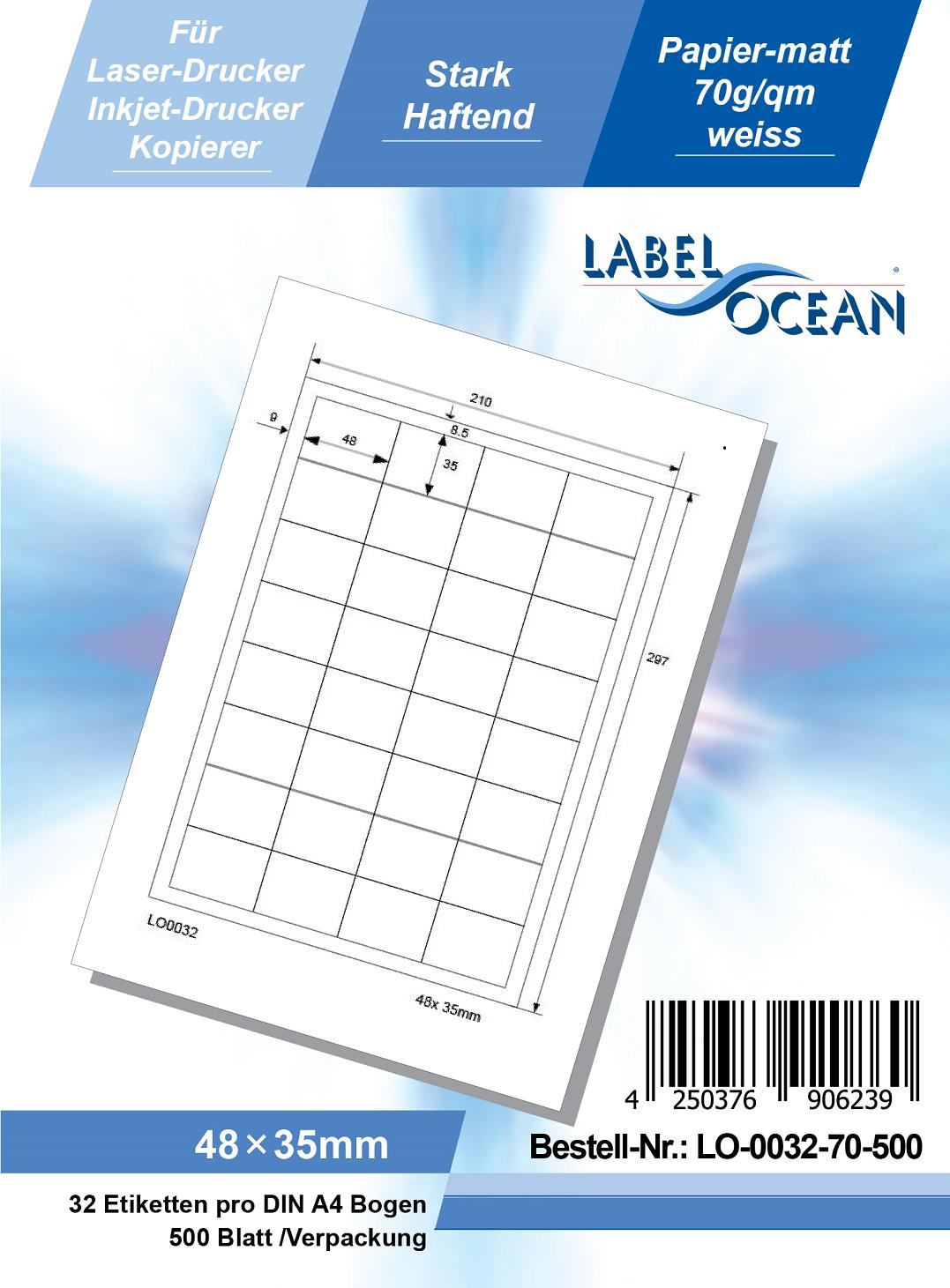 Klebeetiketten DIN A4 weiß 48x35mm (Laser Inkjet Kopierer) 500 Blatt