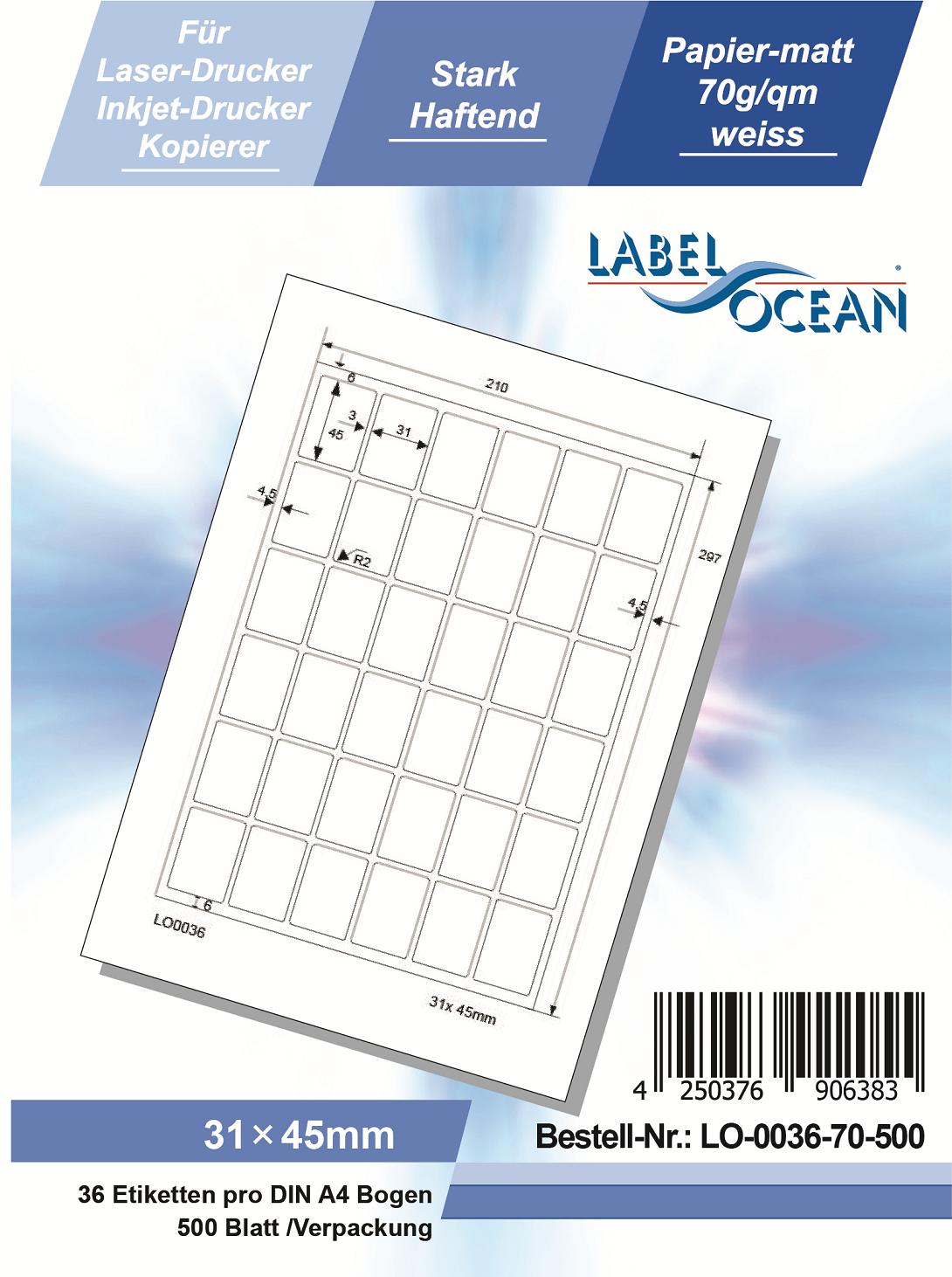 Klebeetiketten DIN A4 weiß 31x45mm (Laser Inkjet Kopierer) 500 Blatt