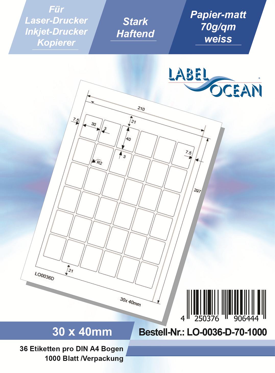 Klebeetiketten DIN A4 weiß 30x40mm (Laser Inkjet Kopierer) 1000 Blatt