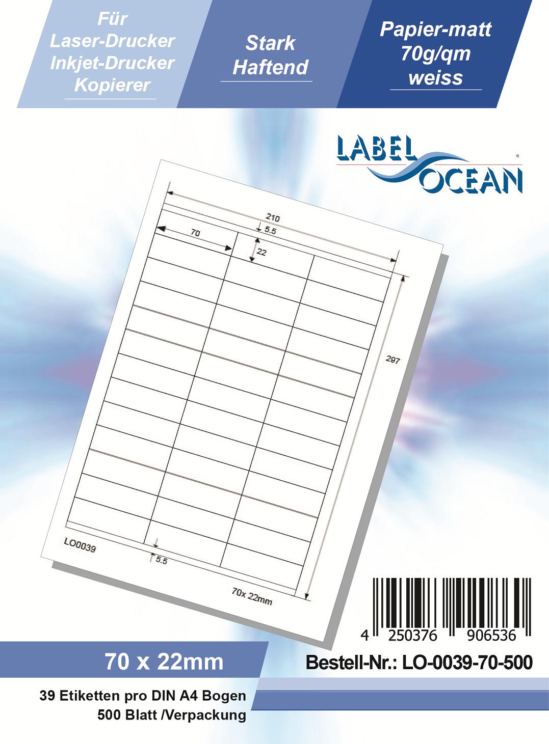 Klebeetiketten DIN A4 weiß 70x22mm (Laser Inkjet Kopierer) 500 Blatt
