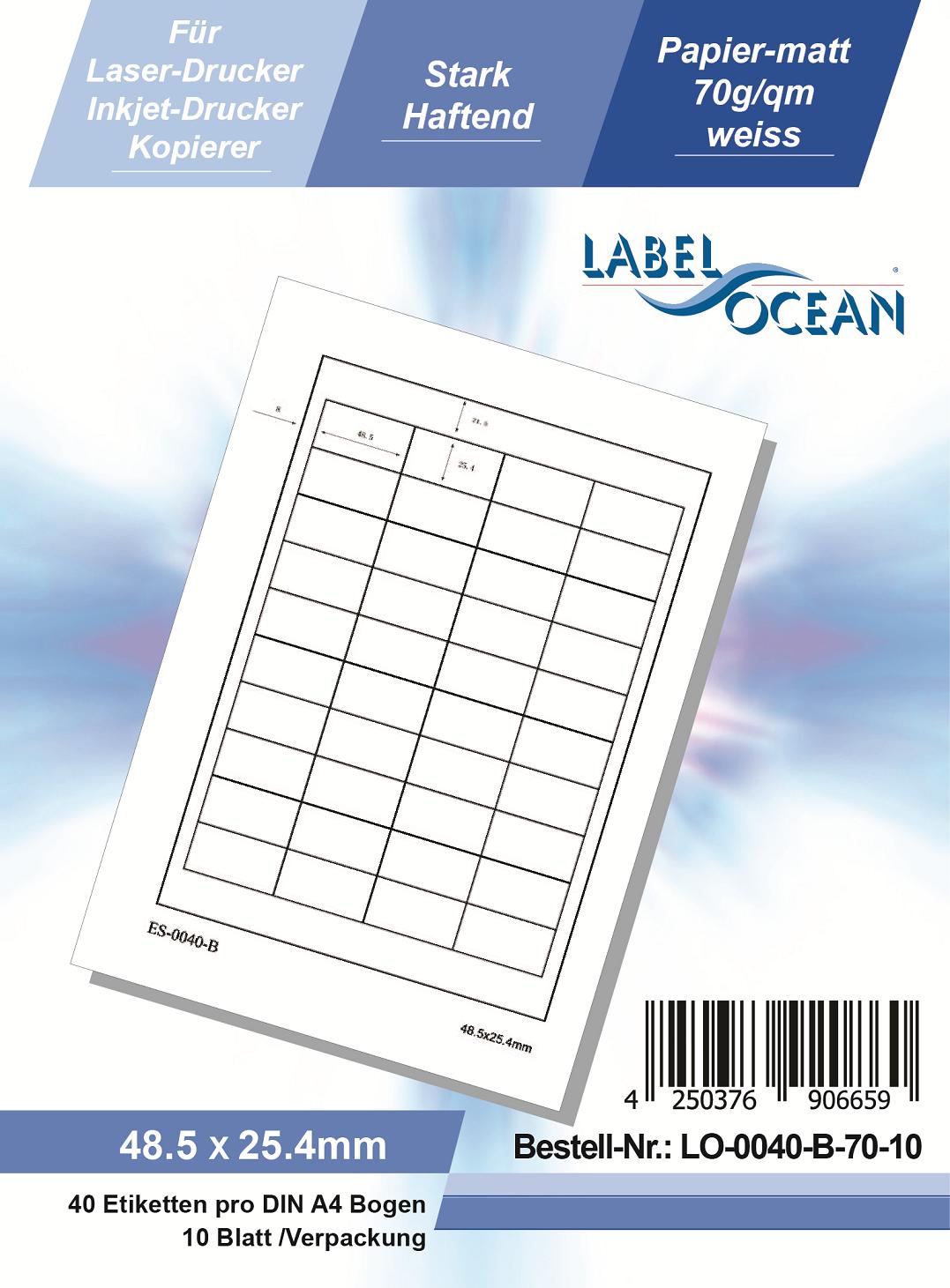 Klebeetiketten DIN A4 weiß 48,5x25,4mm (Laser Inkjet Kopierer) 10 Blatt