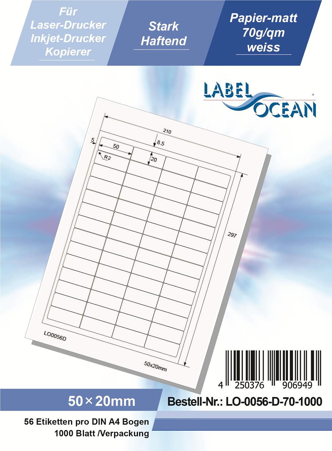 Klebeetiketten DIN A4 weiß 50x20mm (Laser Inkjet Kopierer) 1000 Blatt