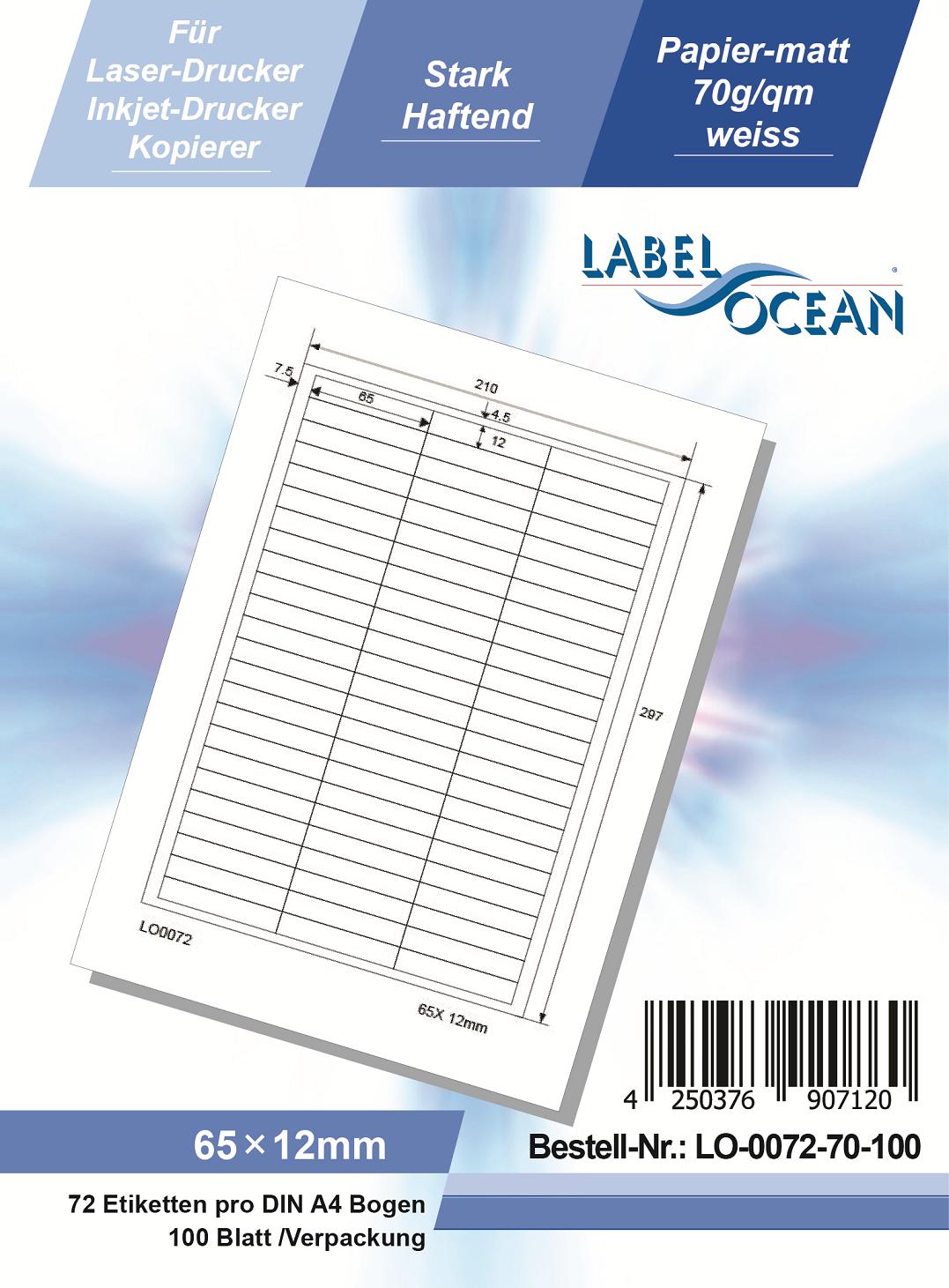 Klebeetiketten DIN A4 weiß 65x12mm (Laser Inkjet Kopierer) 100 Blatt