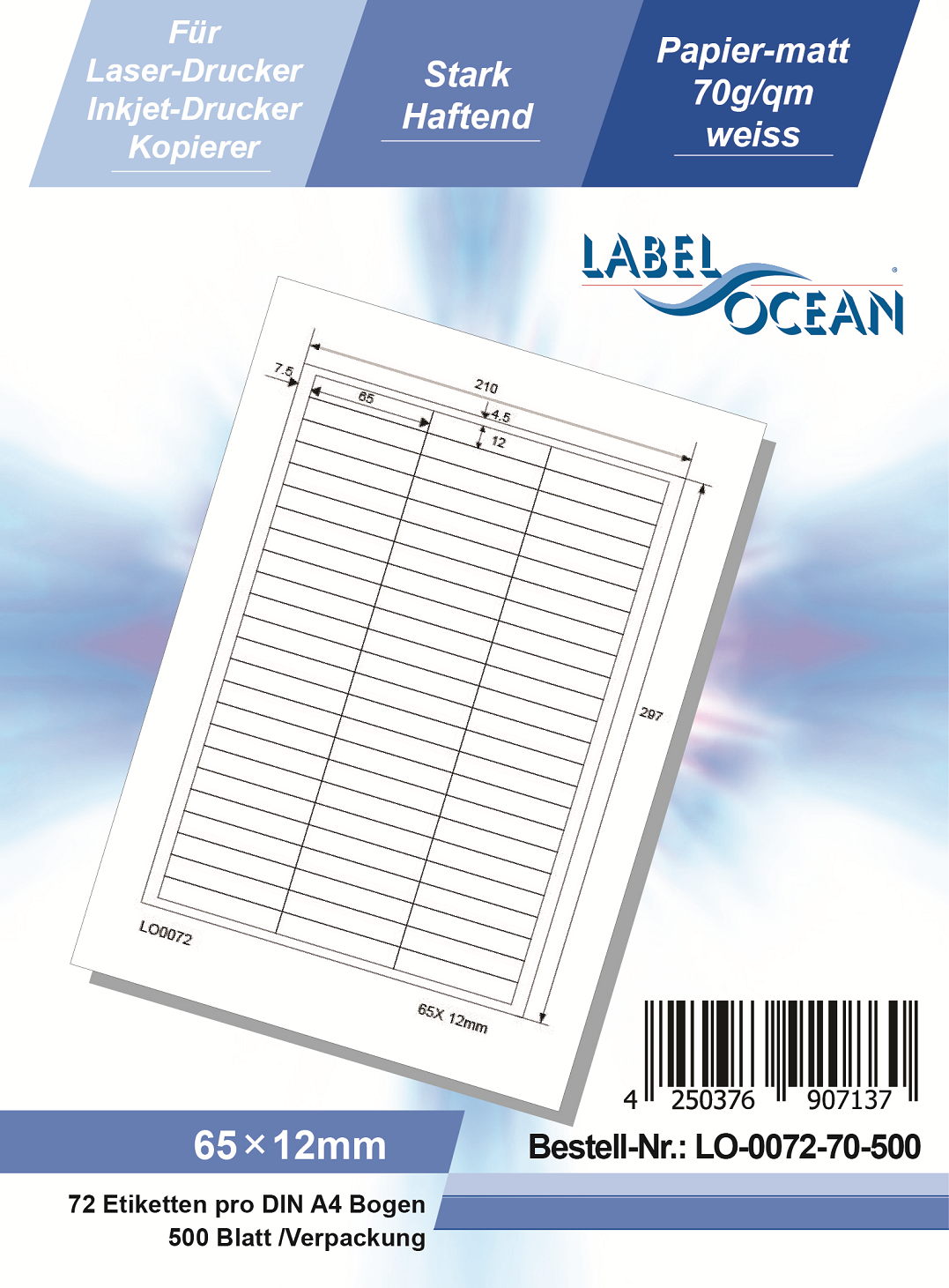 Klebeetiketten DIN A4 weiß 65x12mm (Laser Inkjet Kopierer) 500 Blatt