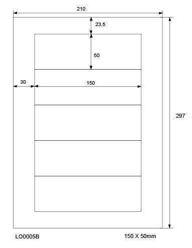 LabelOcean Etiketten, 50 Blatt/250 Etiketten, Format: 150 x 50 mm, 70g/qm,