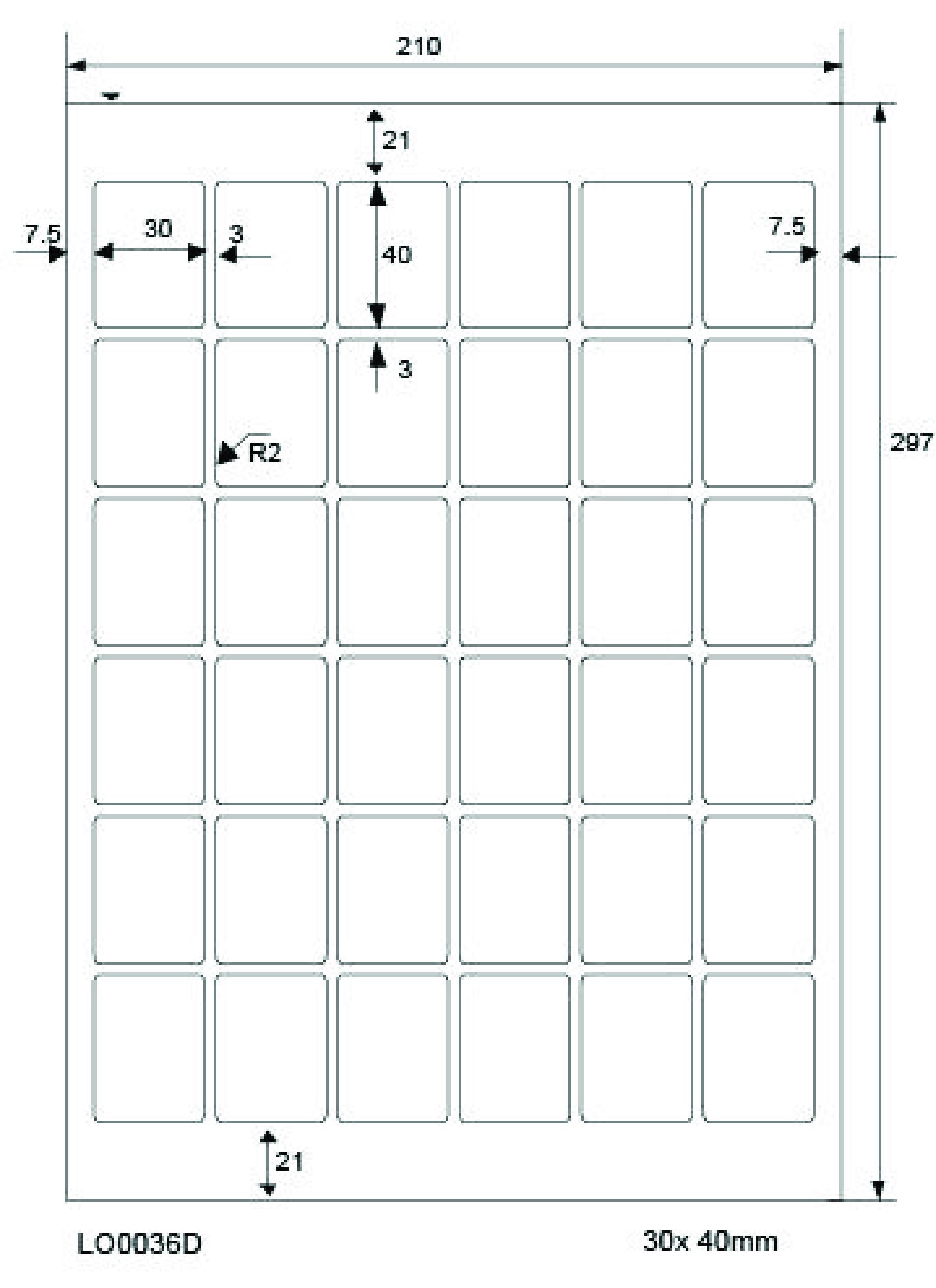 LabelOcean Etiketten, 50 Blatt/1800 Etiketten, Format: 30 x 40 mm, 70g/qm,