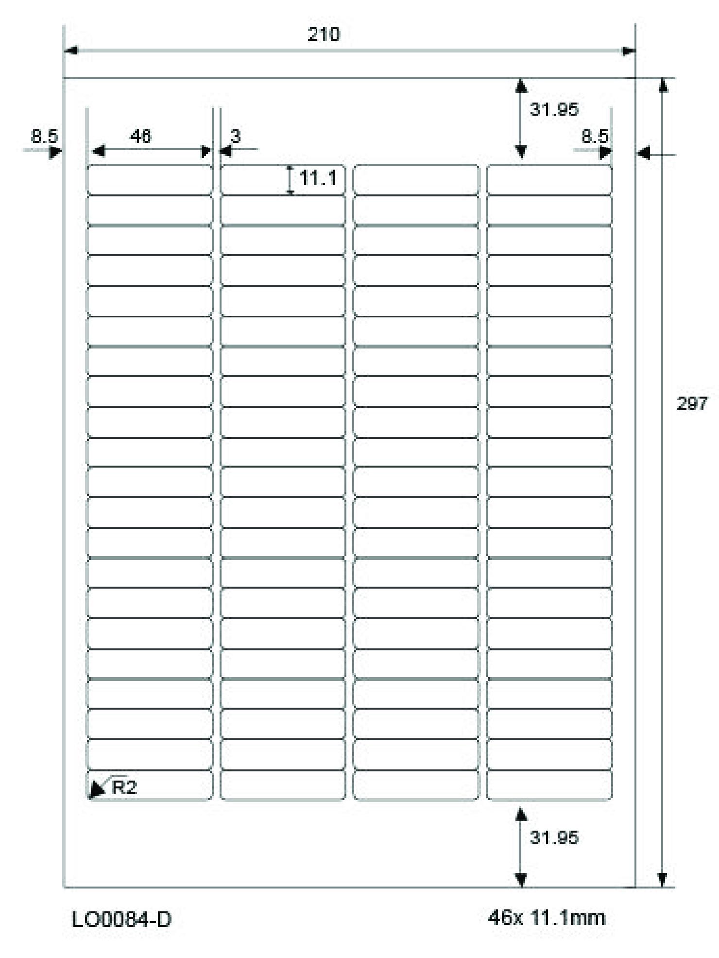 70 x 38 mm TANEX TW-2121 Universaletiketten 210 Etiketten 10 Blatt weiß