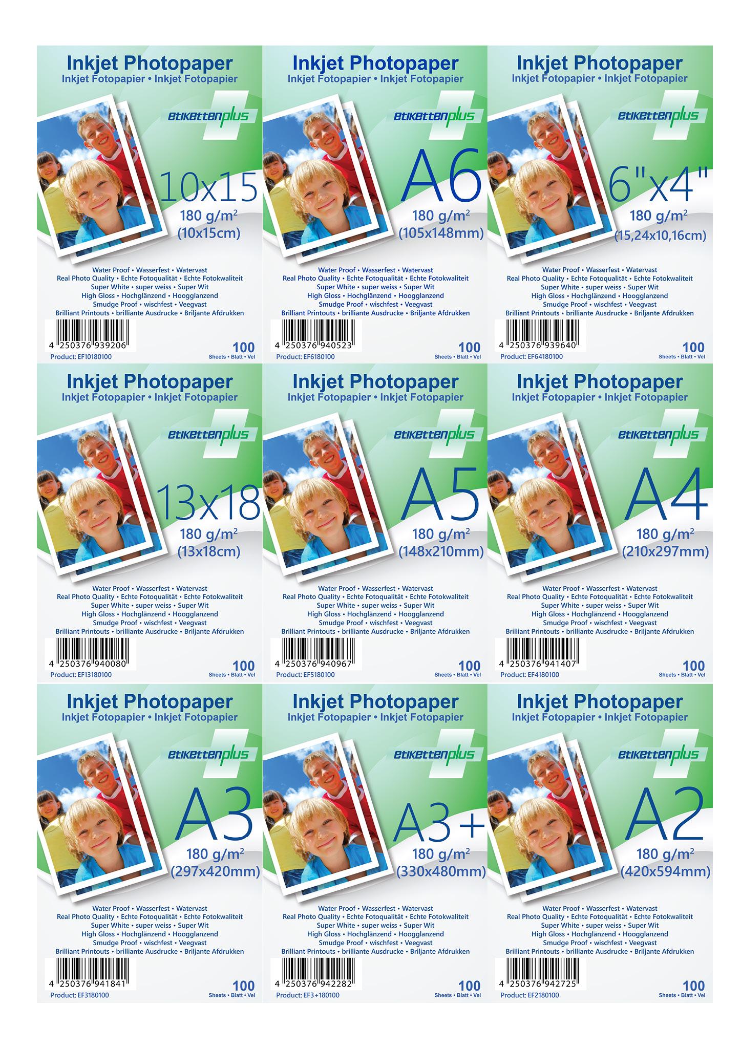 EtikettenPlus Fotopapier 180g/qm glänzend Größe und Format nach Wahl
