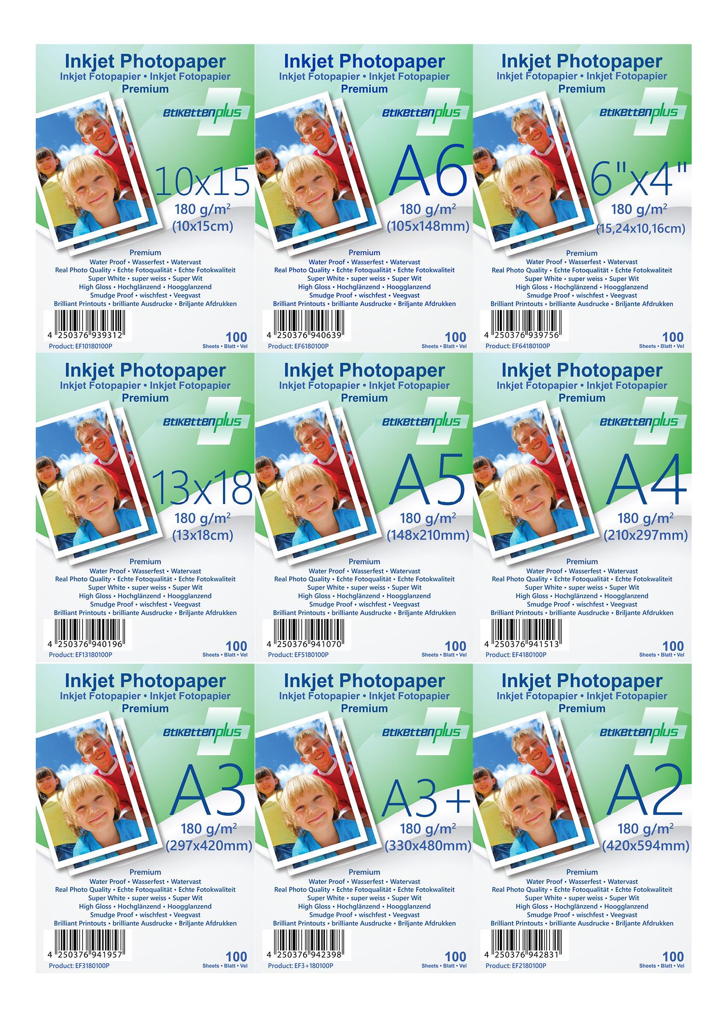 EtikettenPlus Fotopapier Premium 180g/qm hoch-glänzend Größe & Format nach Wahl