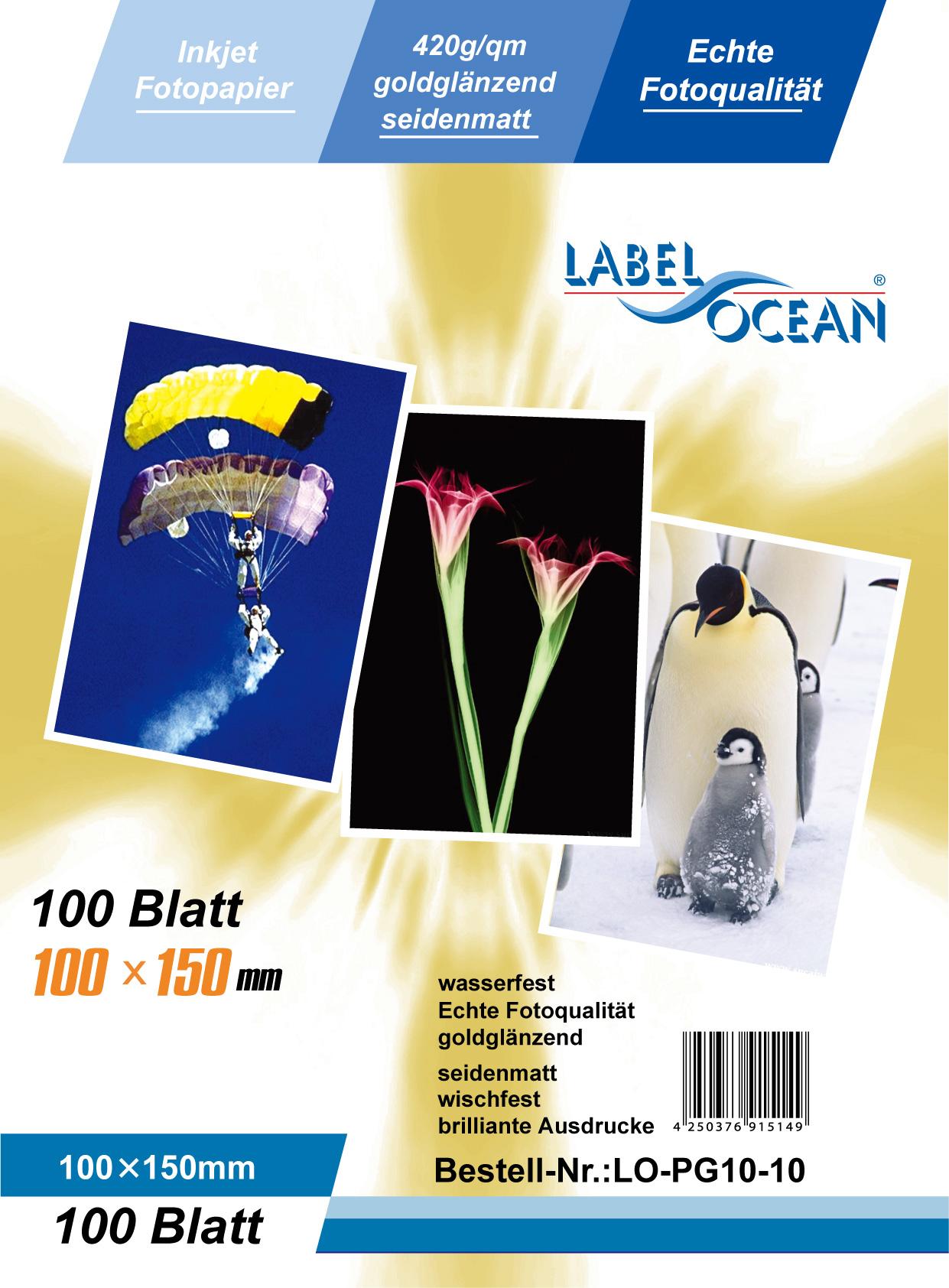 Gold Fotopapier 10 Blatt 10x15cm 420g/m² von LabelOcean