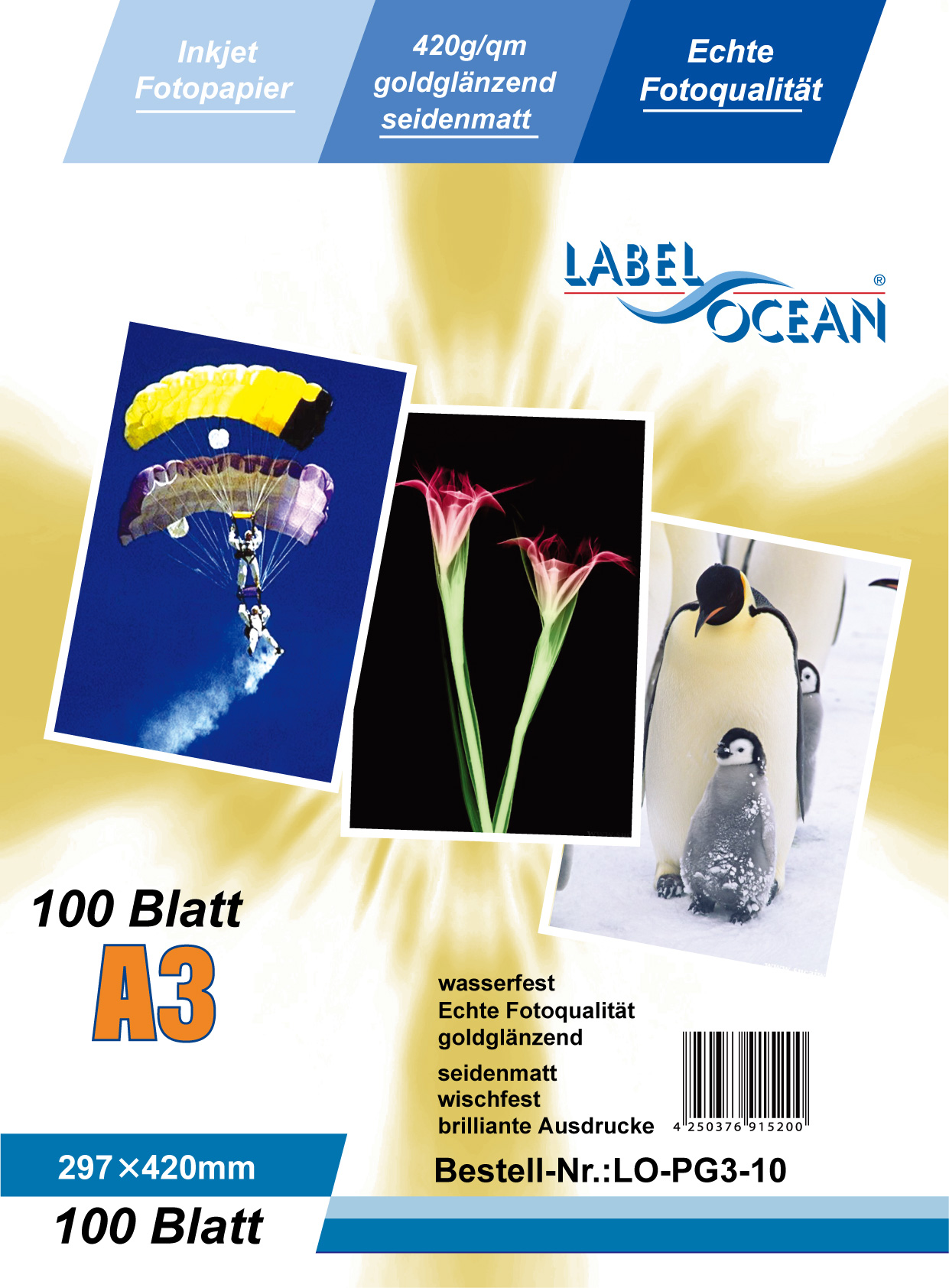 Gold Fotopapier 10 Blatt A3 420g/m² von LabelOcean
