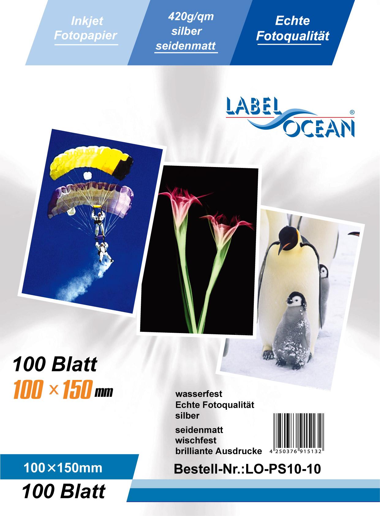 Silber Fotopapier 10 Blatt 10x15cm 420g/m² von LabelOcean