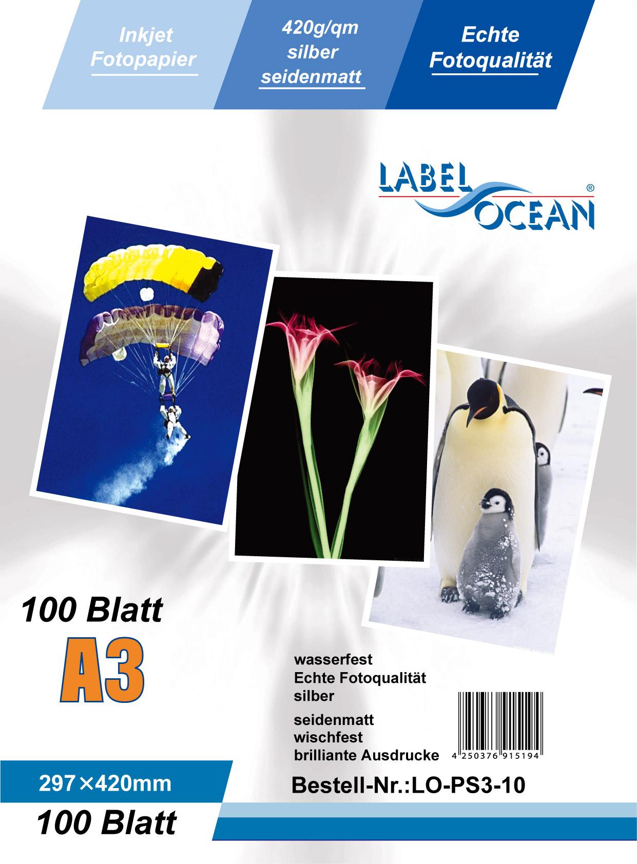 Silber Fotopapier 10 Blatt A3 420g/m² von LabelOcean
