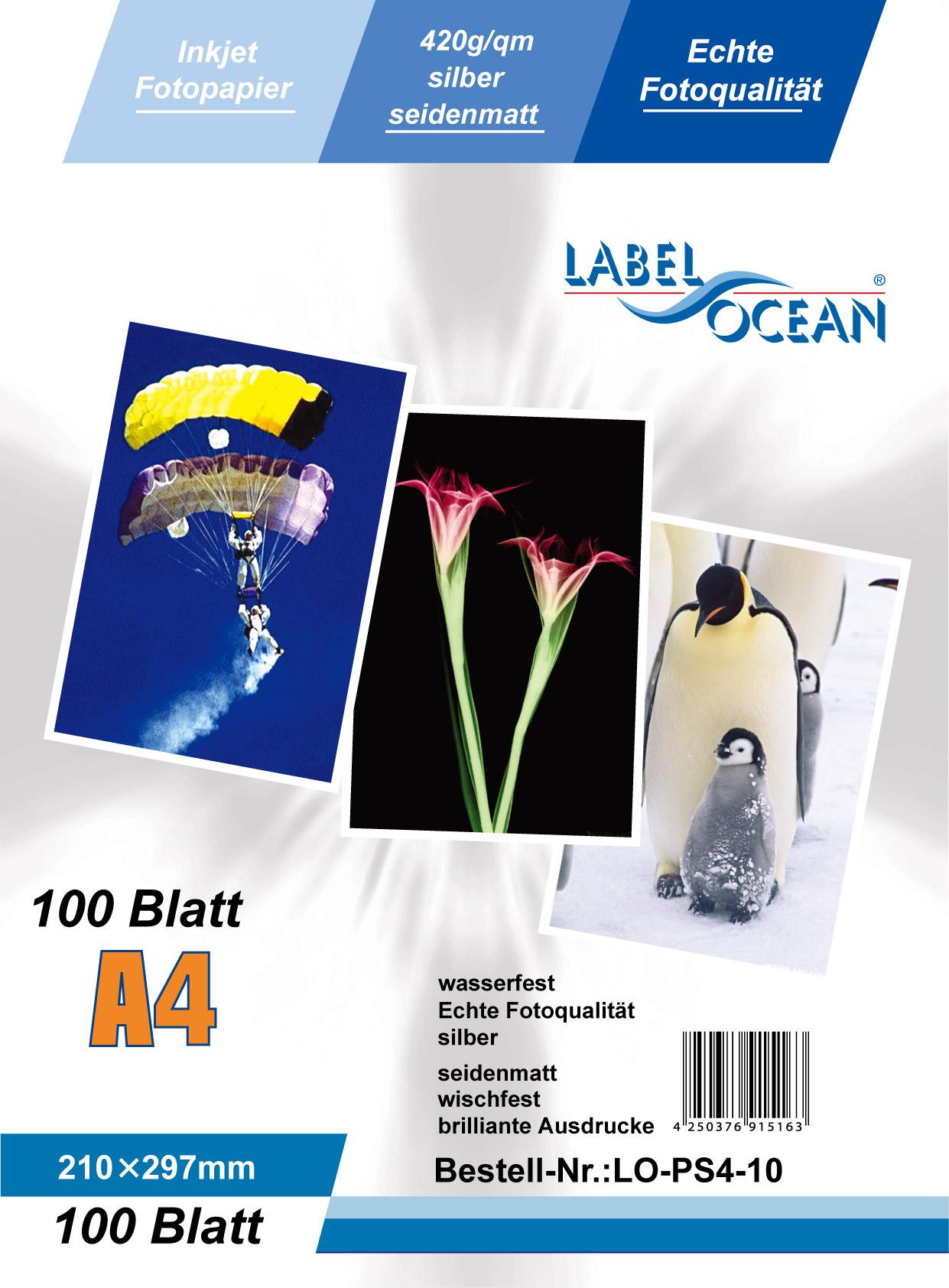Silber Fotopapier 10 Blatt A4 420g/m² von LabelOcean