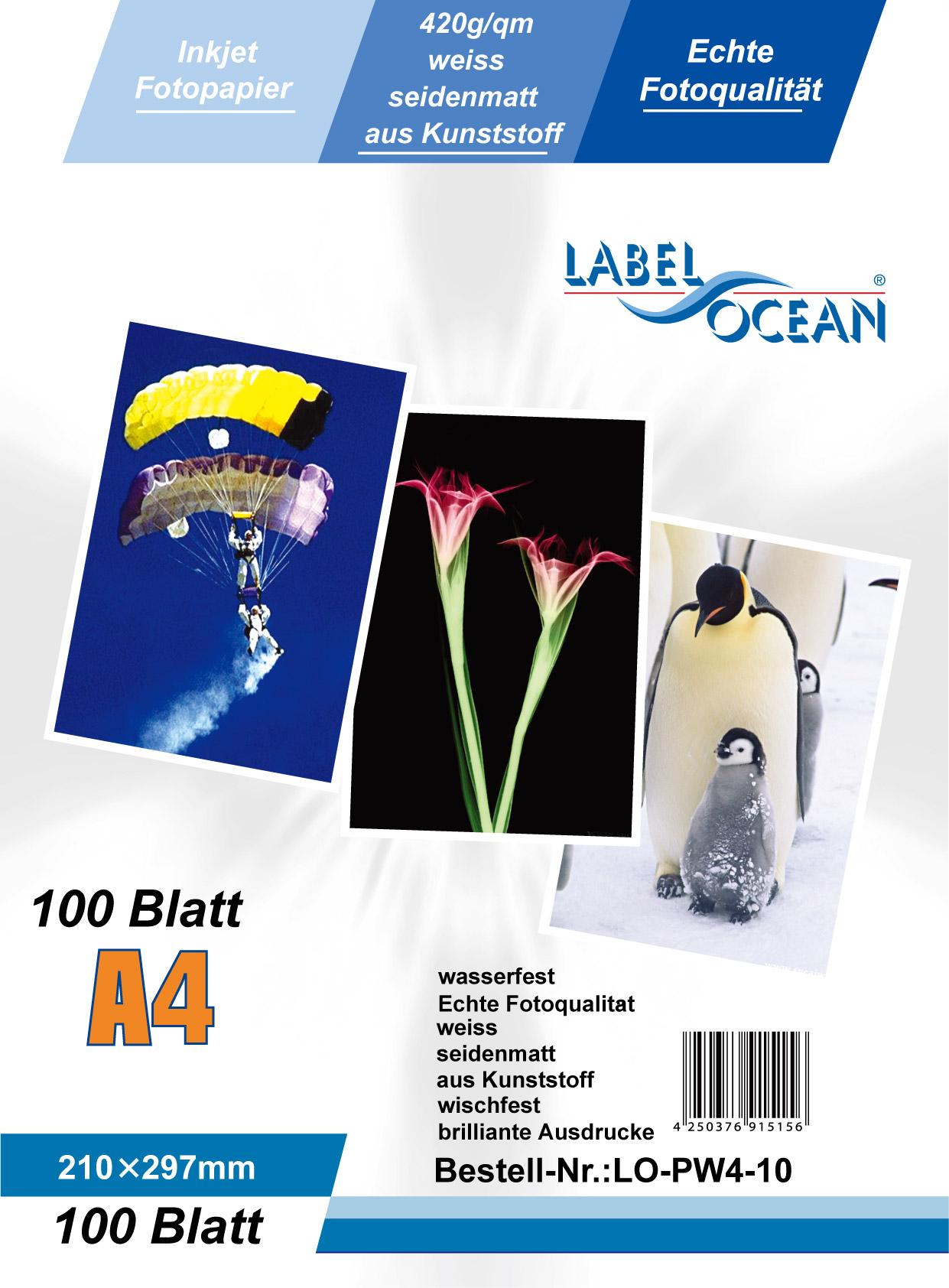 Edelweiß Fotopapier 10 Blatt A4 240/m² wasserfest von LabelOcean