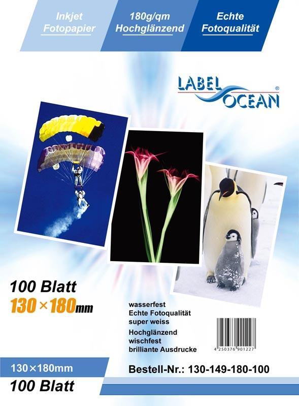 100 Blatt 13x18cm 180g/m² Fotopapier HGlossy+wasserfest von LabelOcean