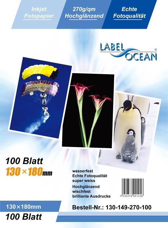 100 Blatt 13x18cm 270/m² Fotopapier Hochglänzend wasserfest von LabelOcean