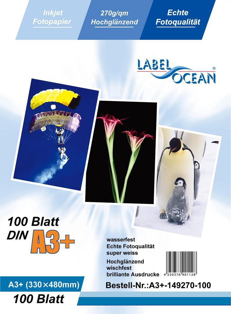 100 Blatt DIN A3+ 270g/m² Fotopapier HGlossy+wasserfest von LabelOcean