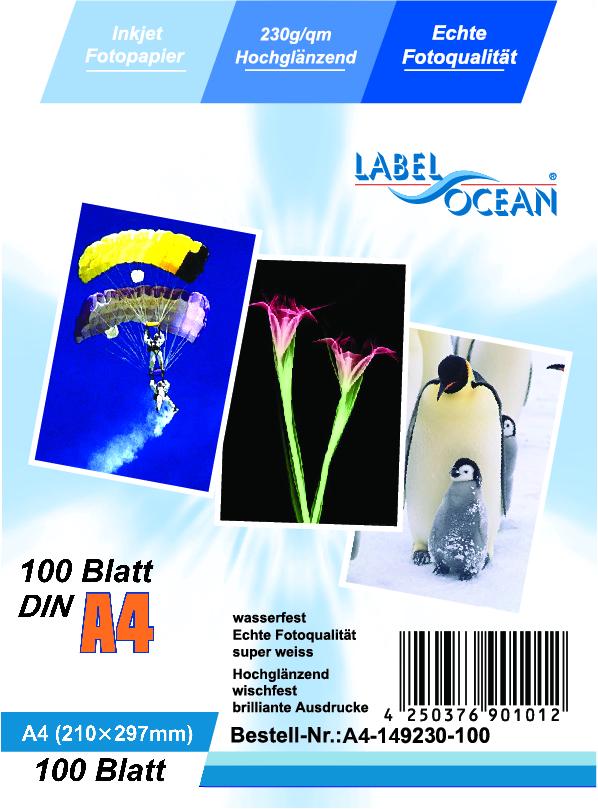 300 Blatt DIN A4 230g/m² Fotopapier HGlossy+wasserfest von LabelOcean