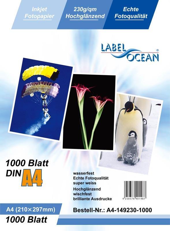 1000 Blatt DIN A4 230g/m² Fotopapier HGlossy+wasserfest von LabelOcean