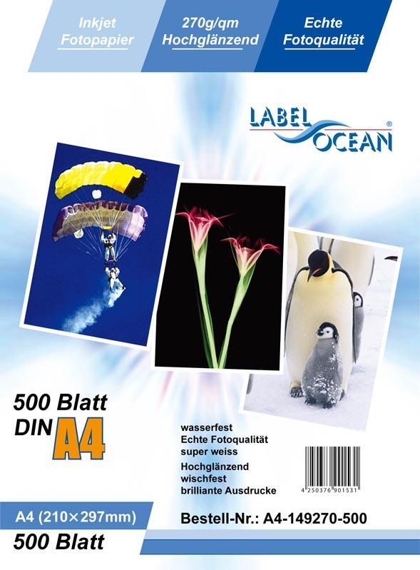 500 Blatt DIN A4 270g/m² Fotopapier HGlossy+wasserfest von LabelOcean