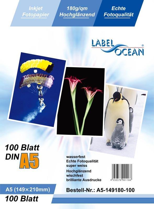 100 Blatt DIN A5 180g/m² Fotopapier HGlossy+wasserfest von LabelOcean