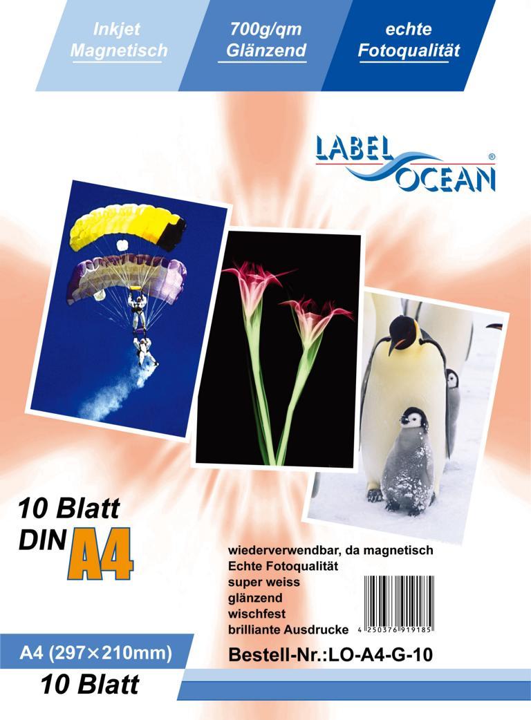 10 Blatt A4 Fotopapier magnetisch Magnetpapier glänzend von LabelOcean