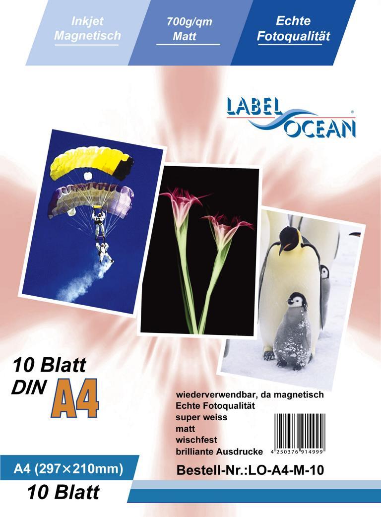10 Blatt A4 Fotopapier magnetisch Magnetpapier matt von LabelOcean
